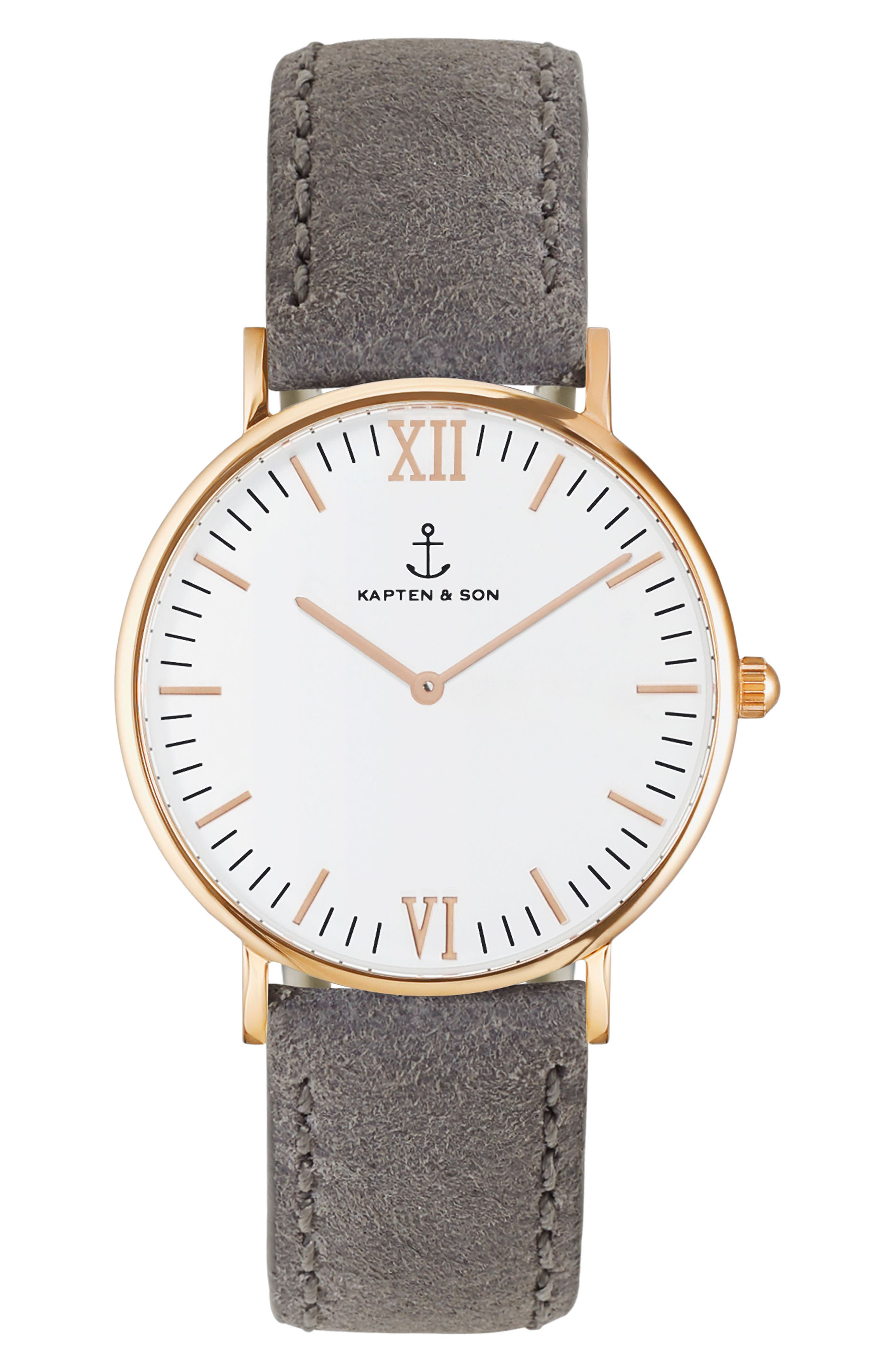 Campus Canvas Strap Watch, 40mm,                             Main thumbnail 1, color,                             GREY/WHITE/ROSE GOLD