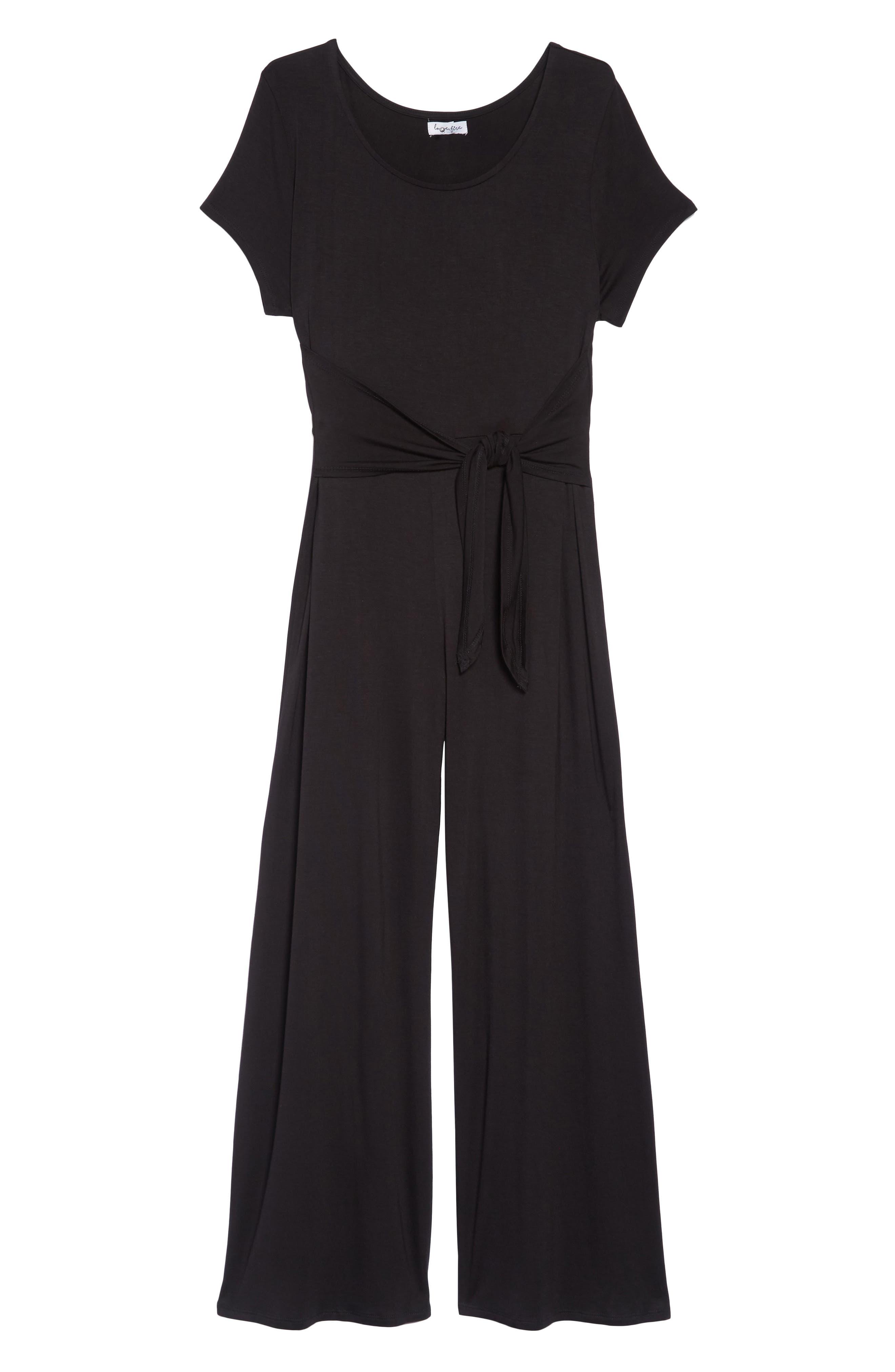 Tie Front Crop Jumpsuit,                         Main,                         color, 001