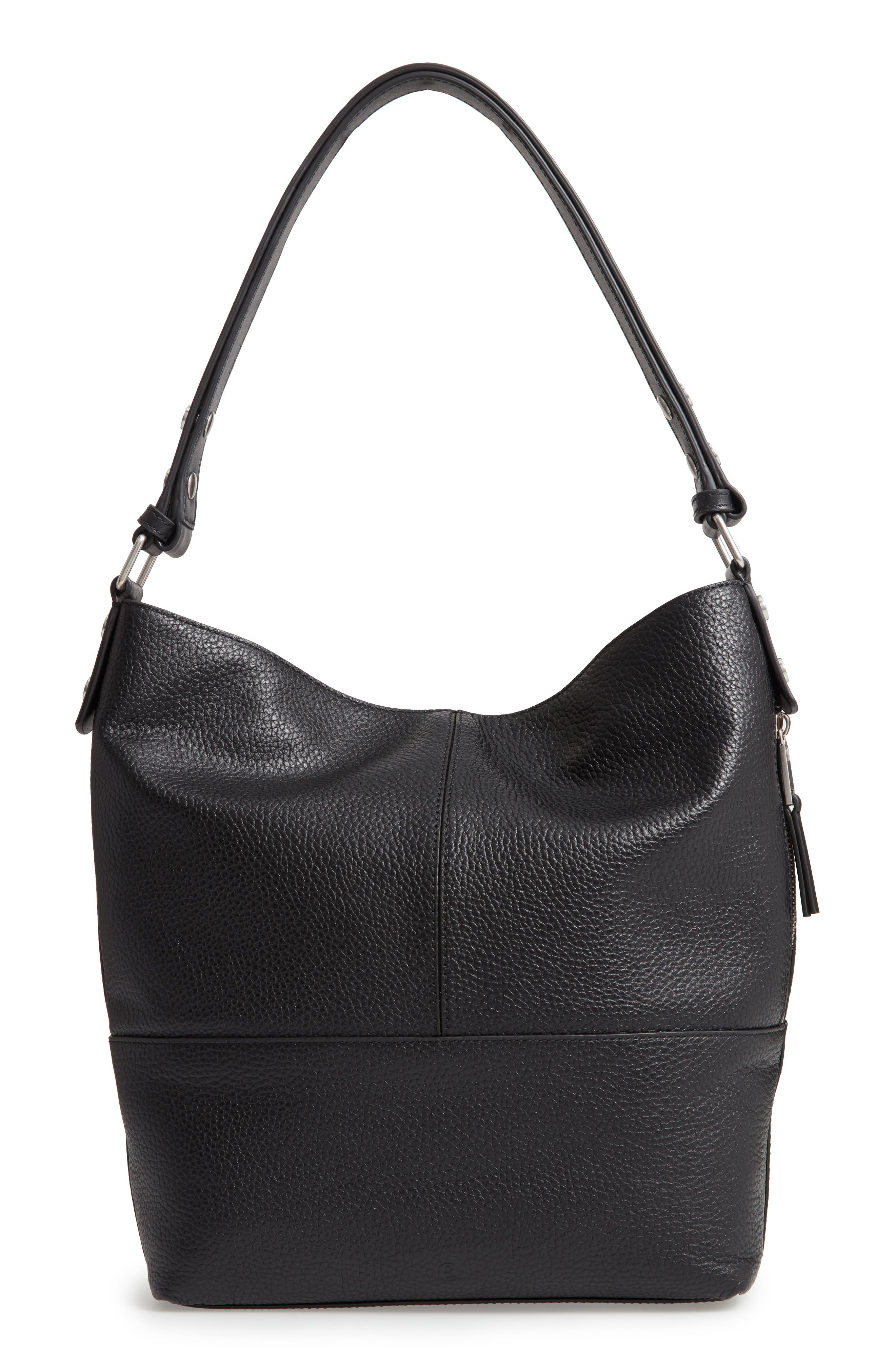 Sydney Leather Convertible Hobo,                             Alternate thumbnail 3, color,                             001