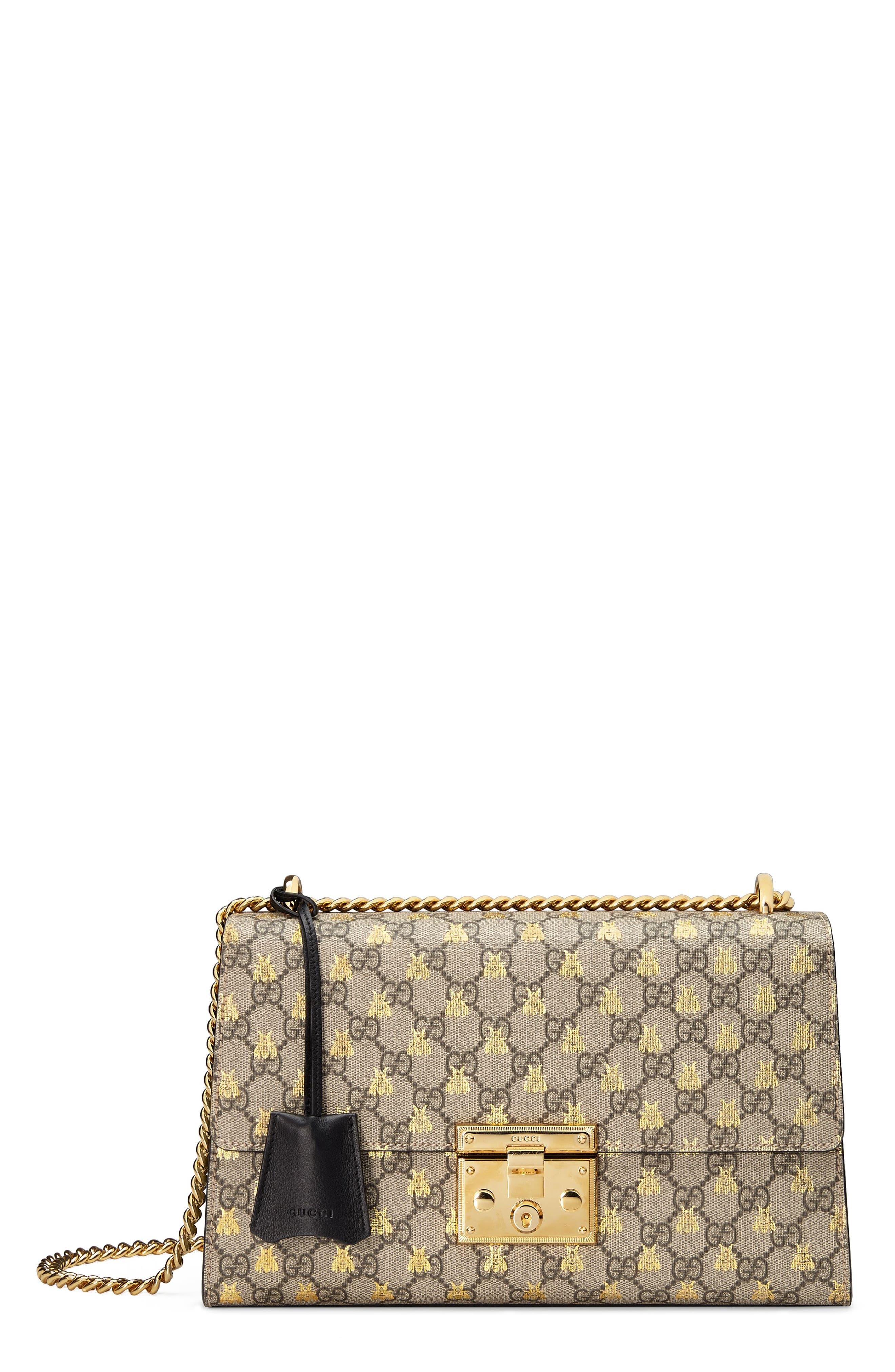 Medium Padlock GG Supreme Bee Shoulder Bag,                             Main thumbnail 1, color,                             250