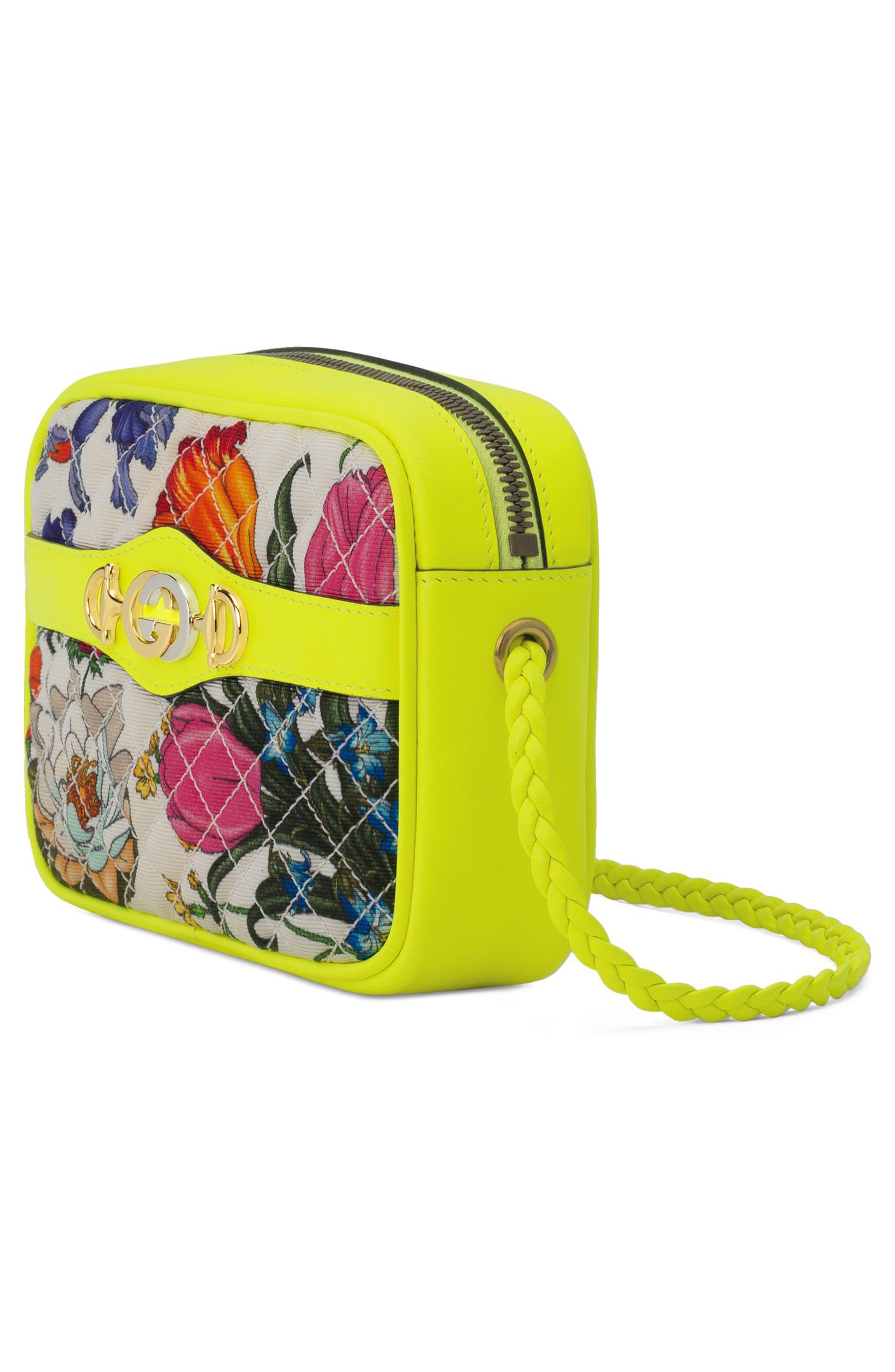 GUCCI,                             Flora Print Mini Crossbody Bag,                             Alternate thumbnail 4, color,                             705