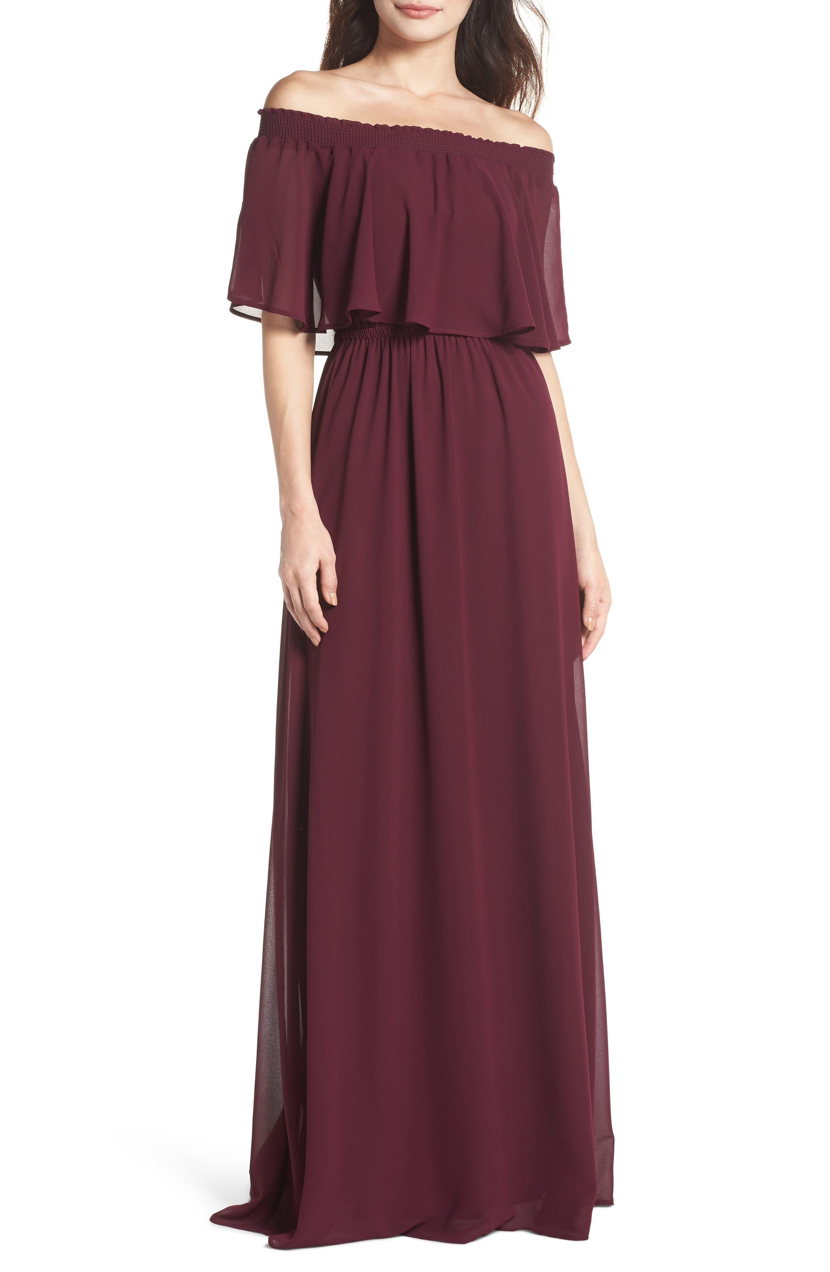 Hacienda Convertible Gown,                             Main thumbnail 1, color,                             MERLOT CHIFFON