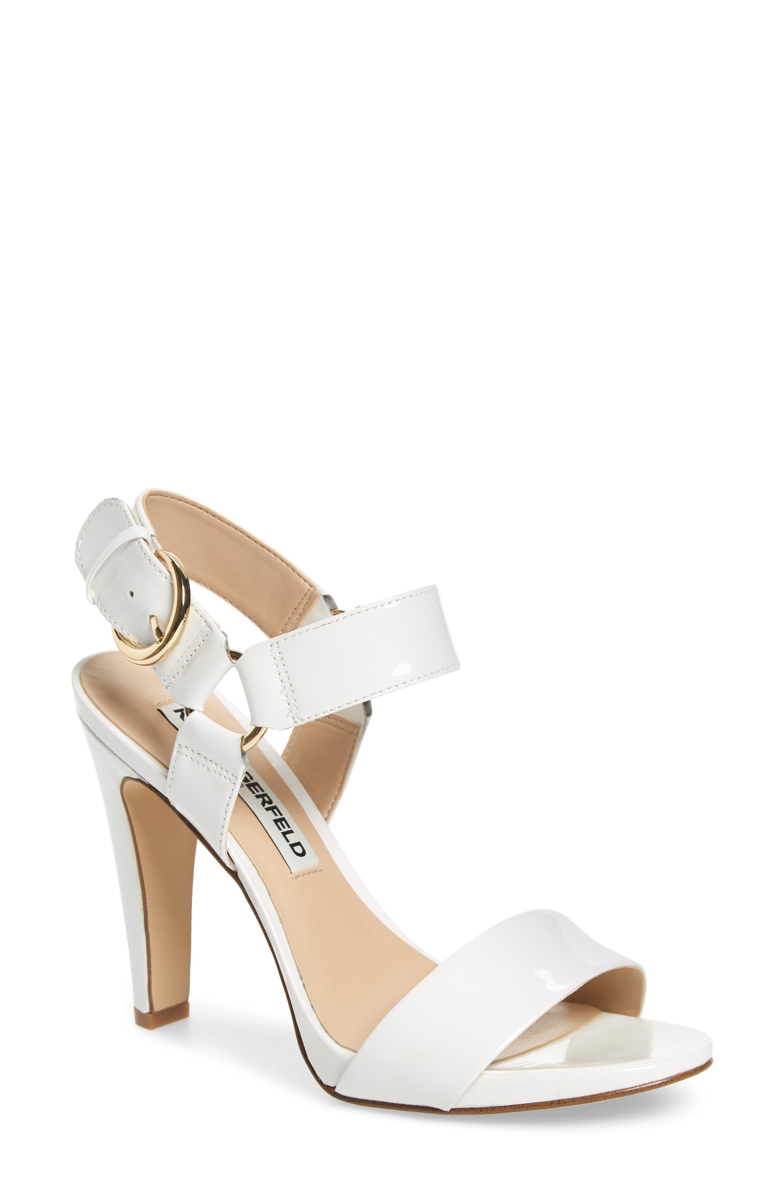 KARL LAGERFELD PARIS Cieone Sandal, Main, color, WHITE PATENT