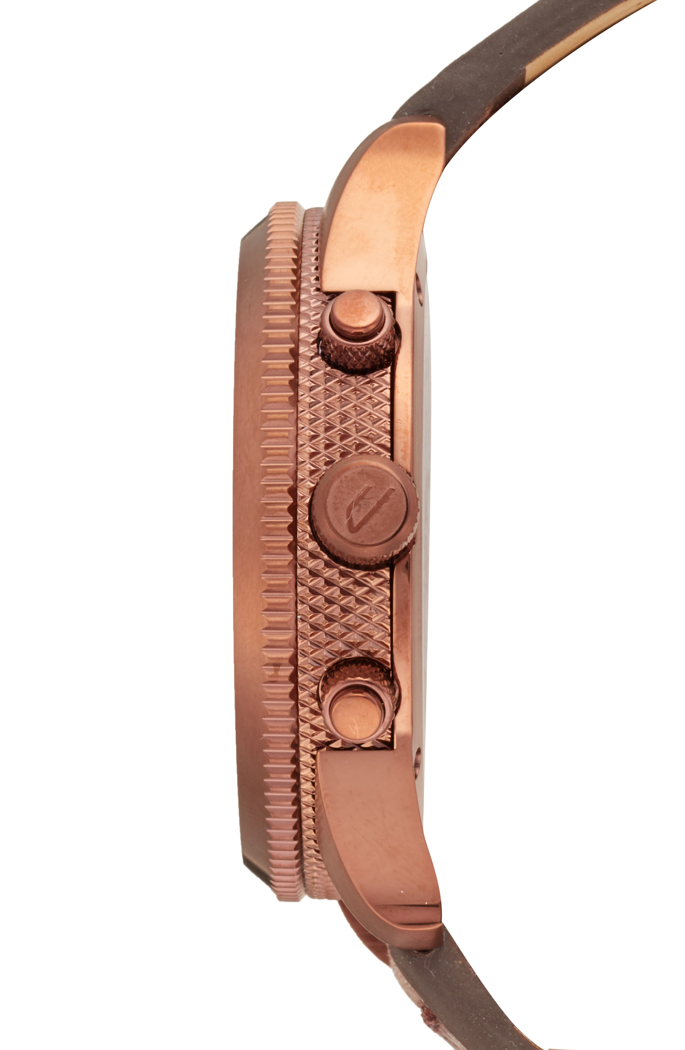 DIESEL<SUP>®</SUP>,                             Chronograph Leather Strap Watch, 45mm,                             Alternate thumbnail 3, color,                             200