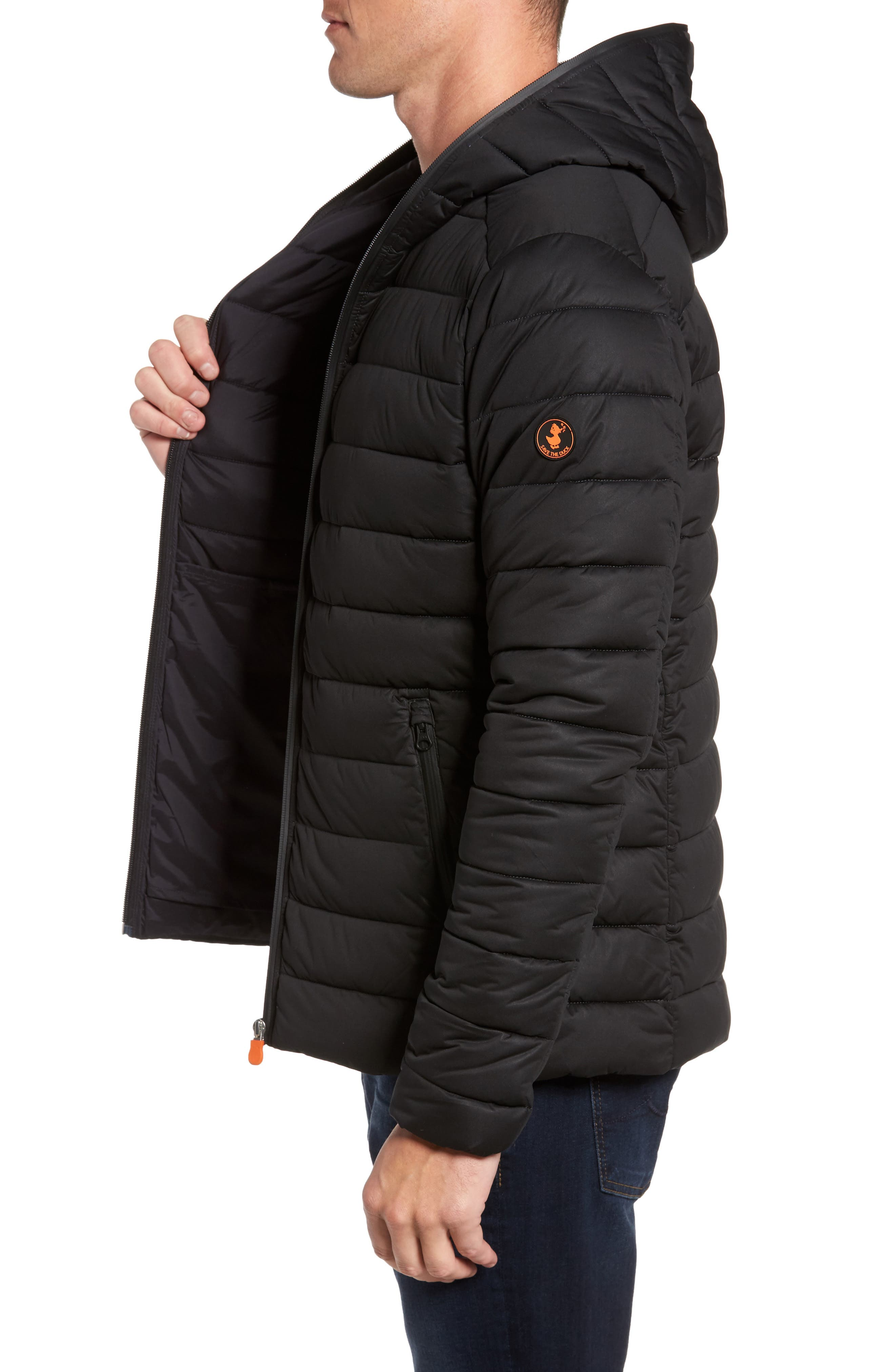 Hooded Water Resistant Puffer Jacket,                             Alternate thumbnail 3, color,                             001