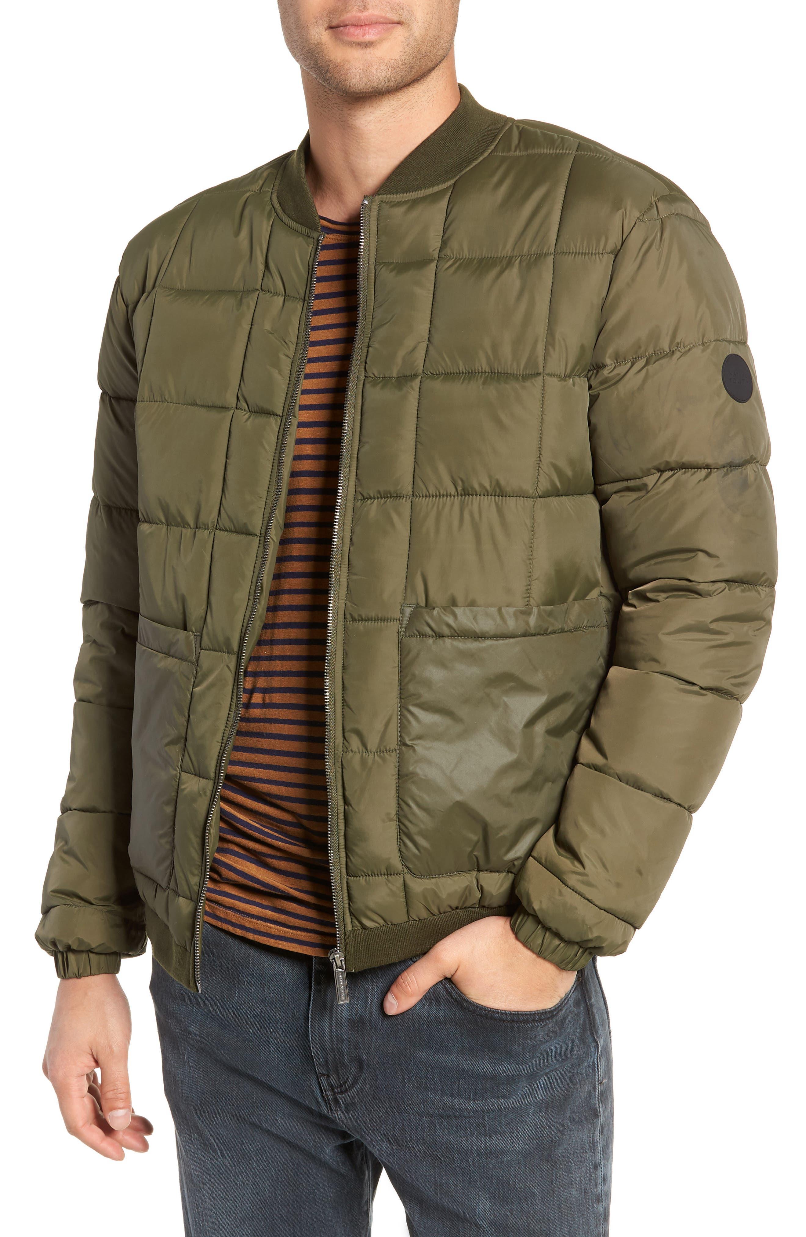 Quilted Short Jacket,                         Main,                         color, OLIVE