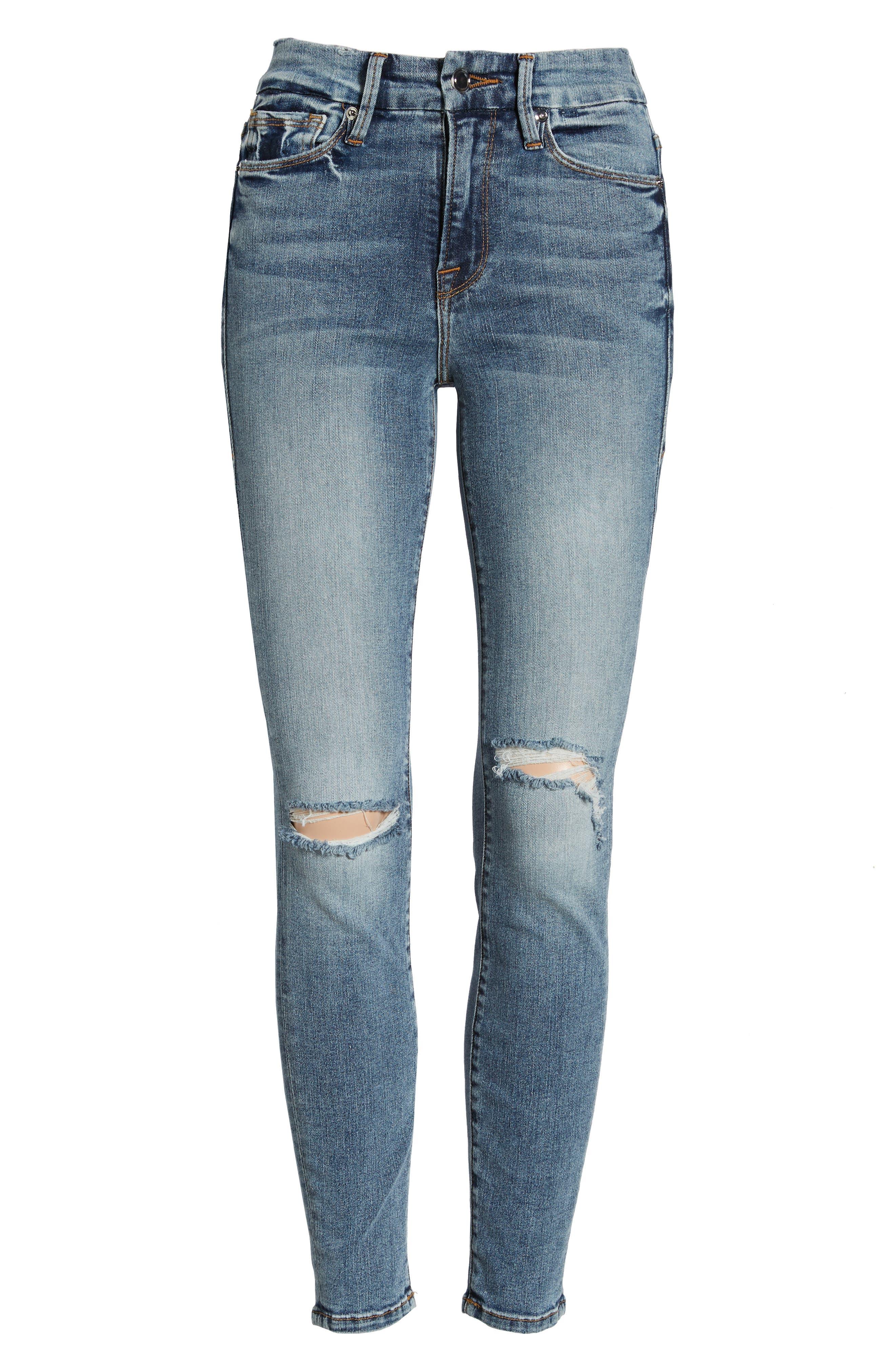 Good Legs Ankle Skinny Jeans,                             Alternate thumbnail 7, color,                             BLUE 129