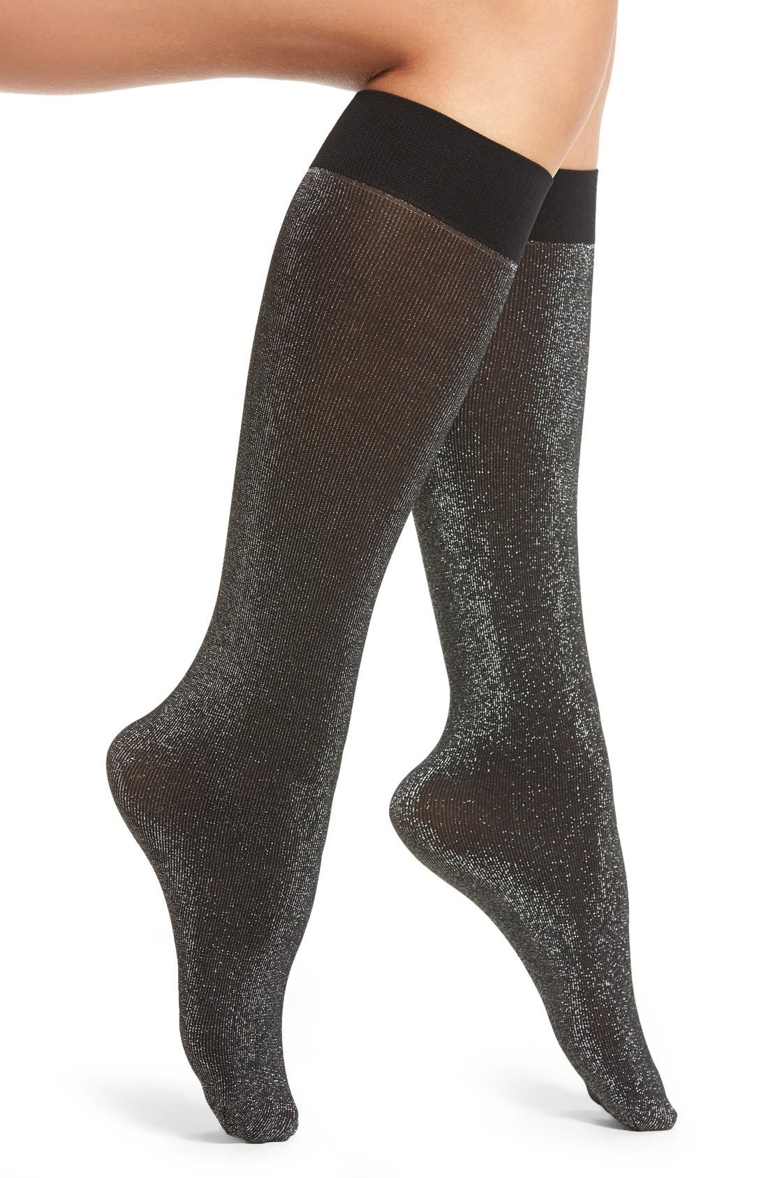 Shimmer Knee Socks,                             Main thumbnail 1, color,                             001