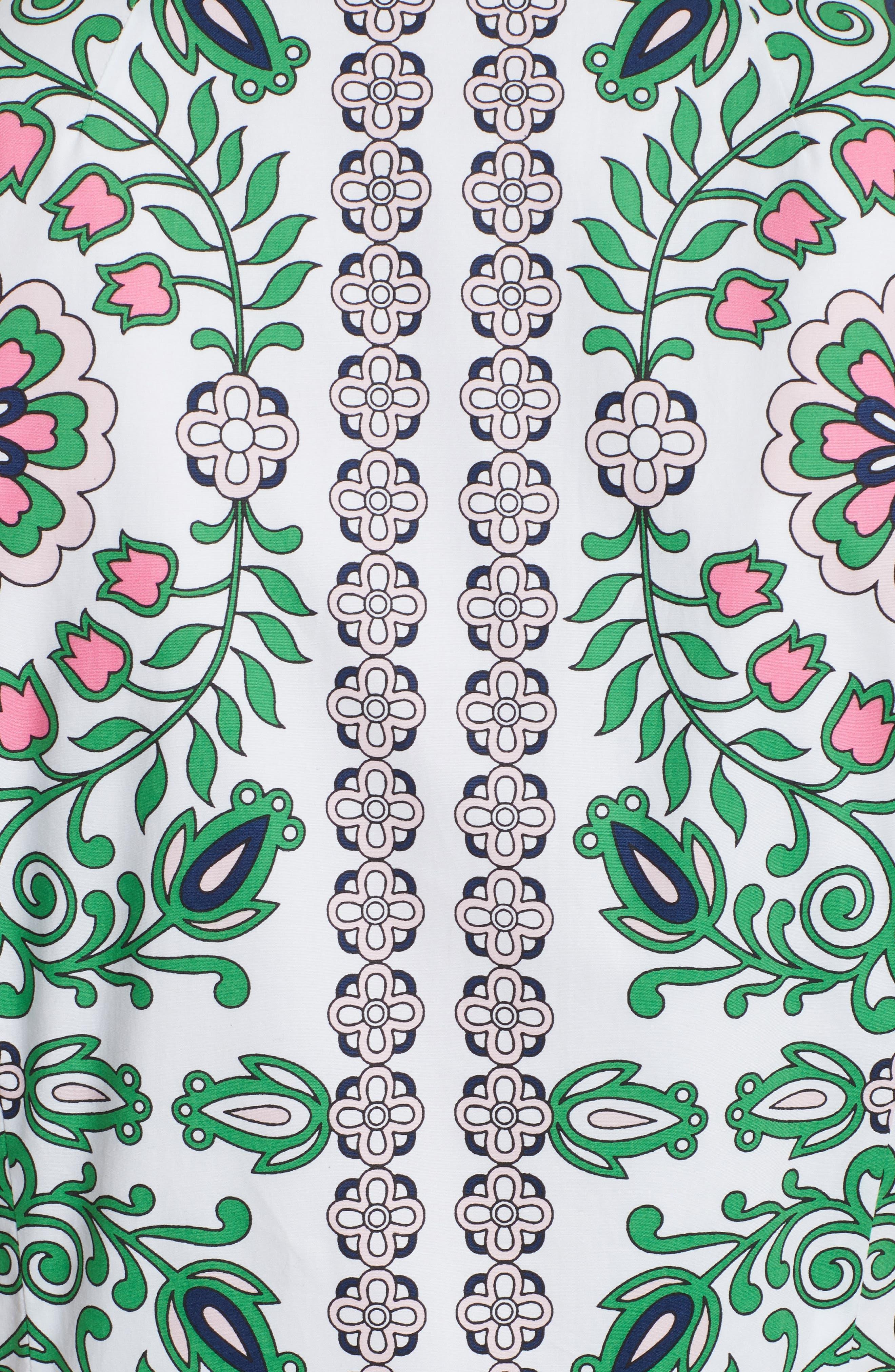 Port Print Poplin Shirtdress,                             Alternate thumbnail 5, color,                             100