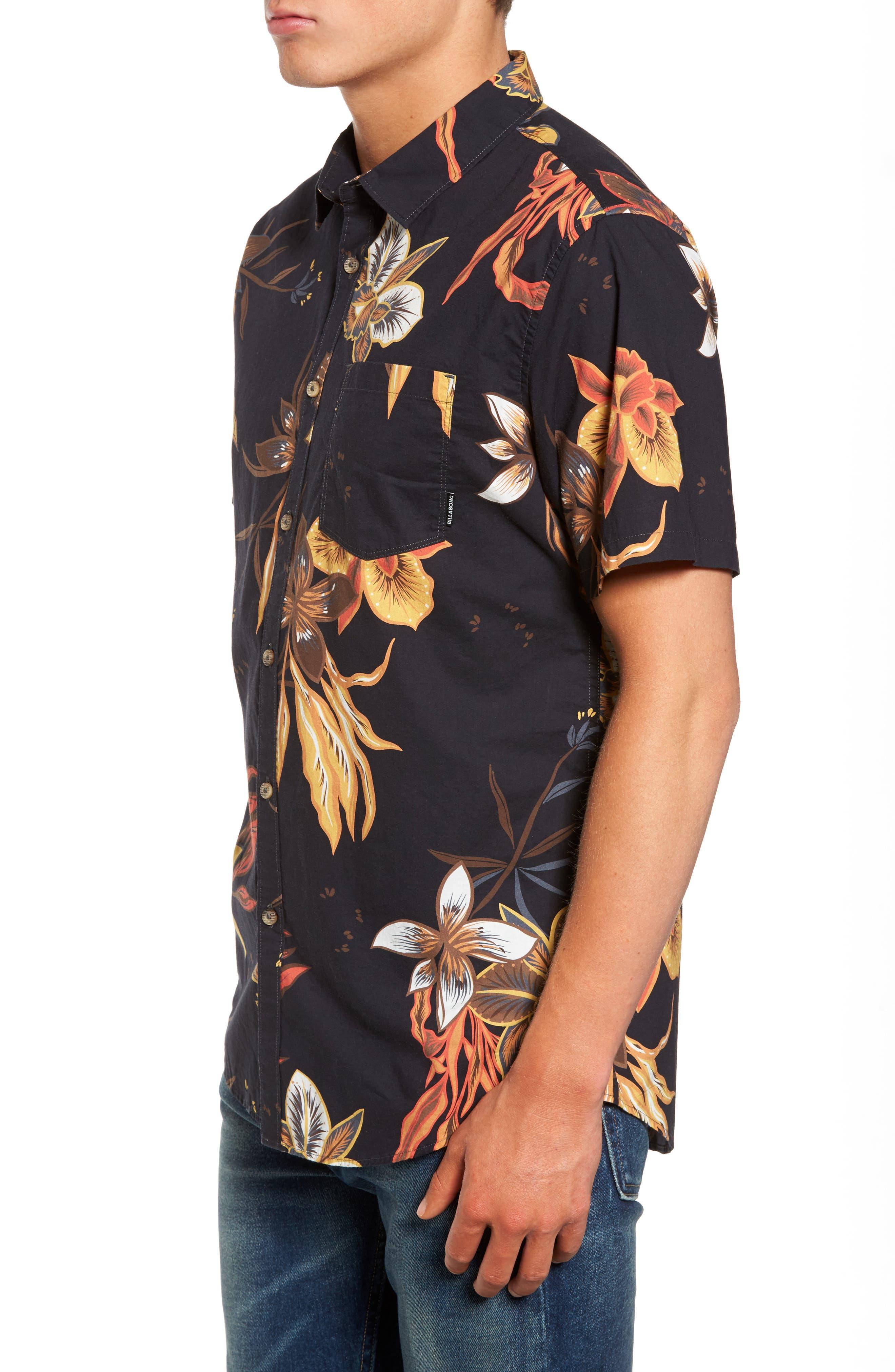 Sunday Floral Woven Shirt,                             Alternate thumbnail 3, color,                             001