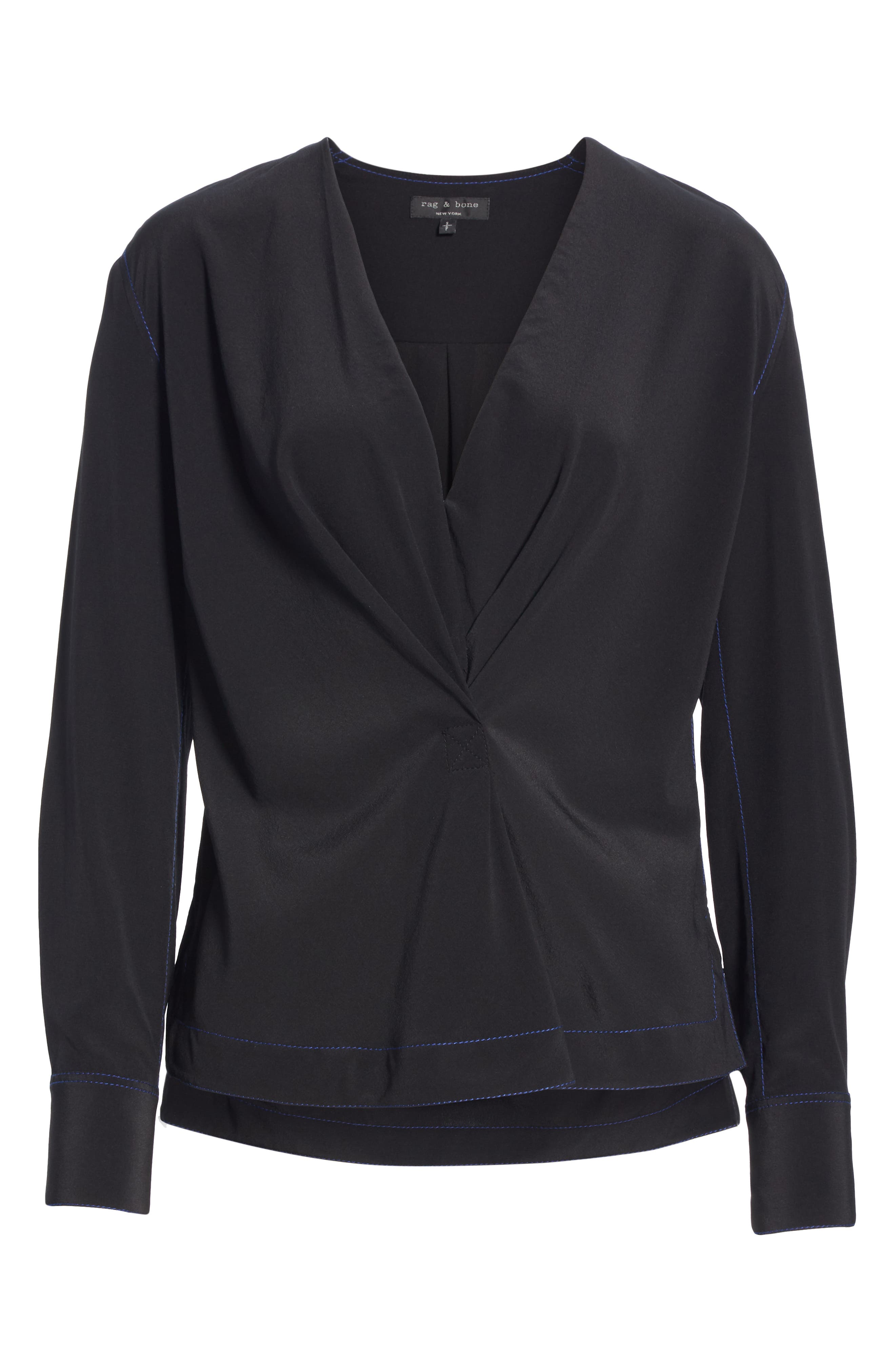 Shields Silk Blouse,                             Alternate thumbnail 6, color,                             BLACK