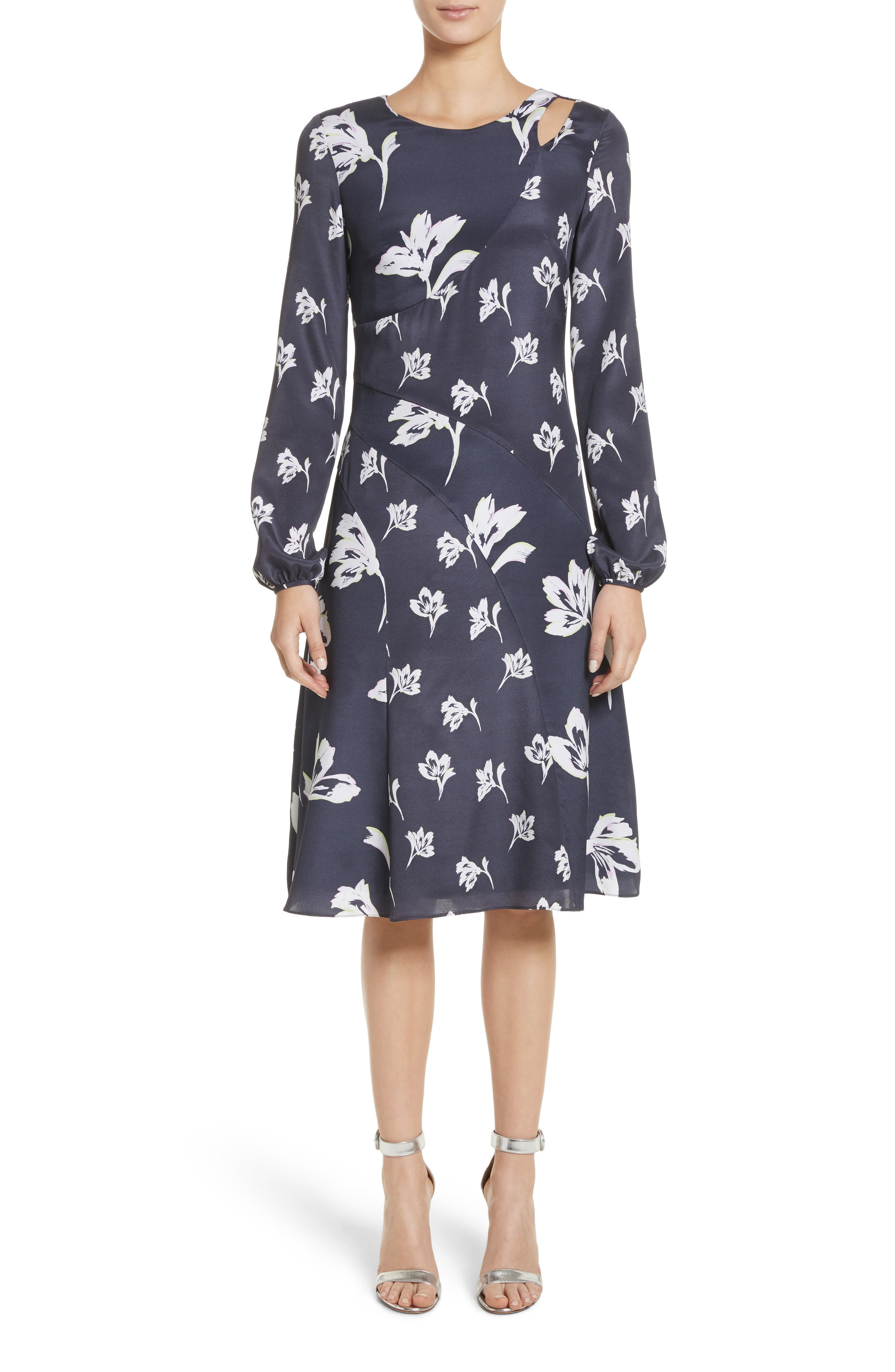 Falling Flower Print Stretch Silk Dress,                         Main,                         color,