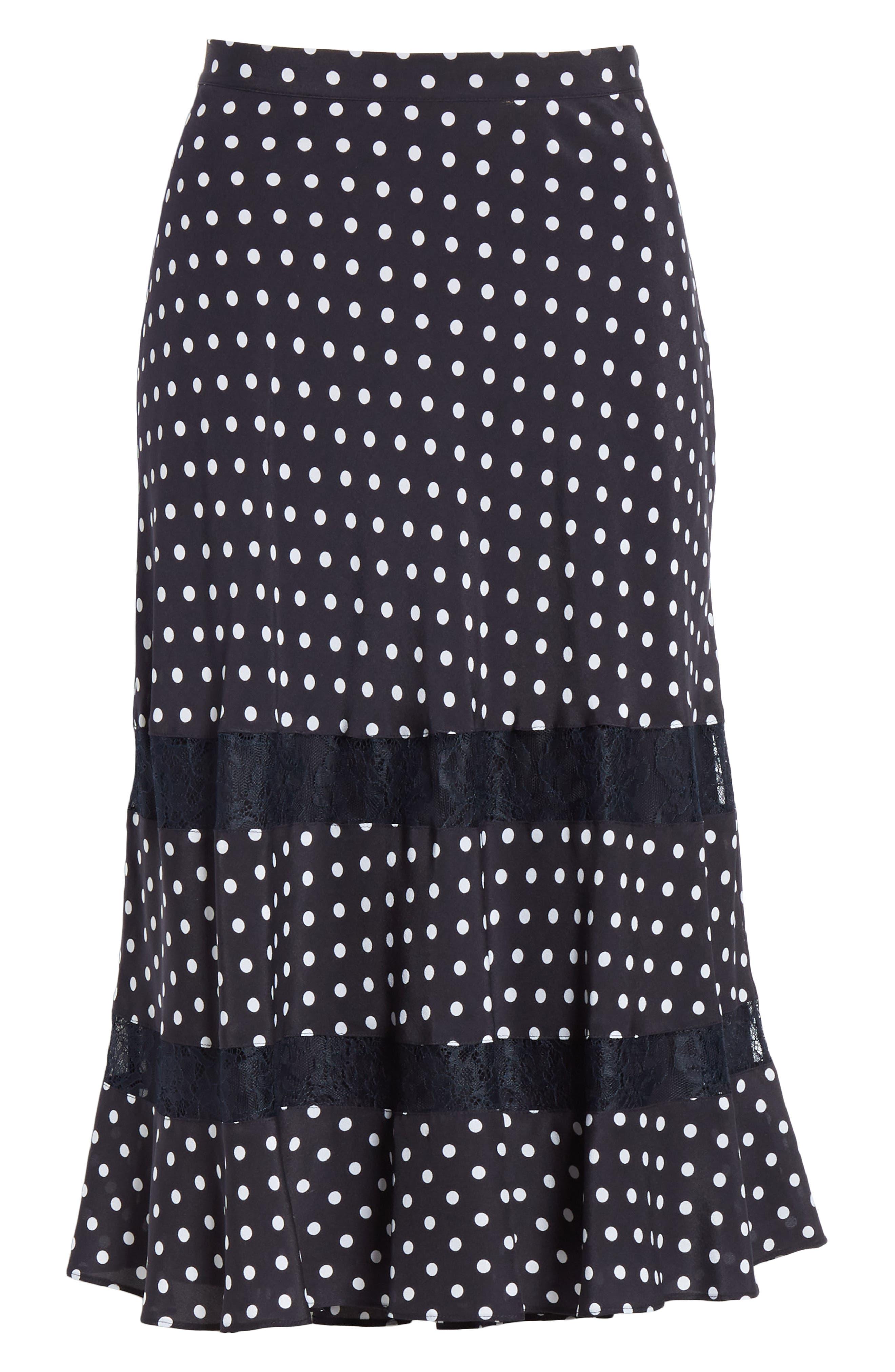 Lace Trim Dot Silk Skirt,                             Alternate thumbnail 6, color,                             NAVY NIGHT PETITE DOT