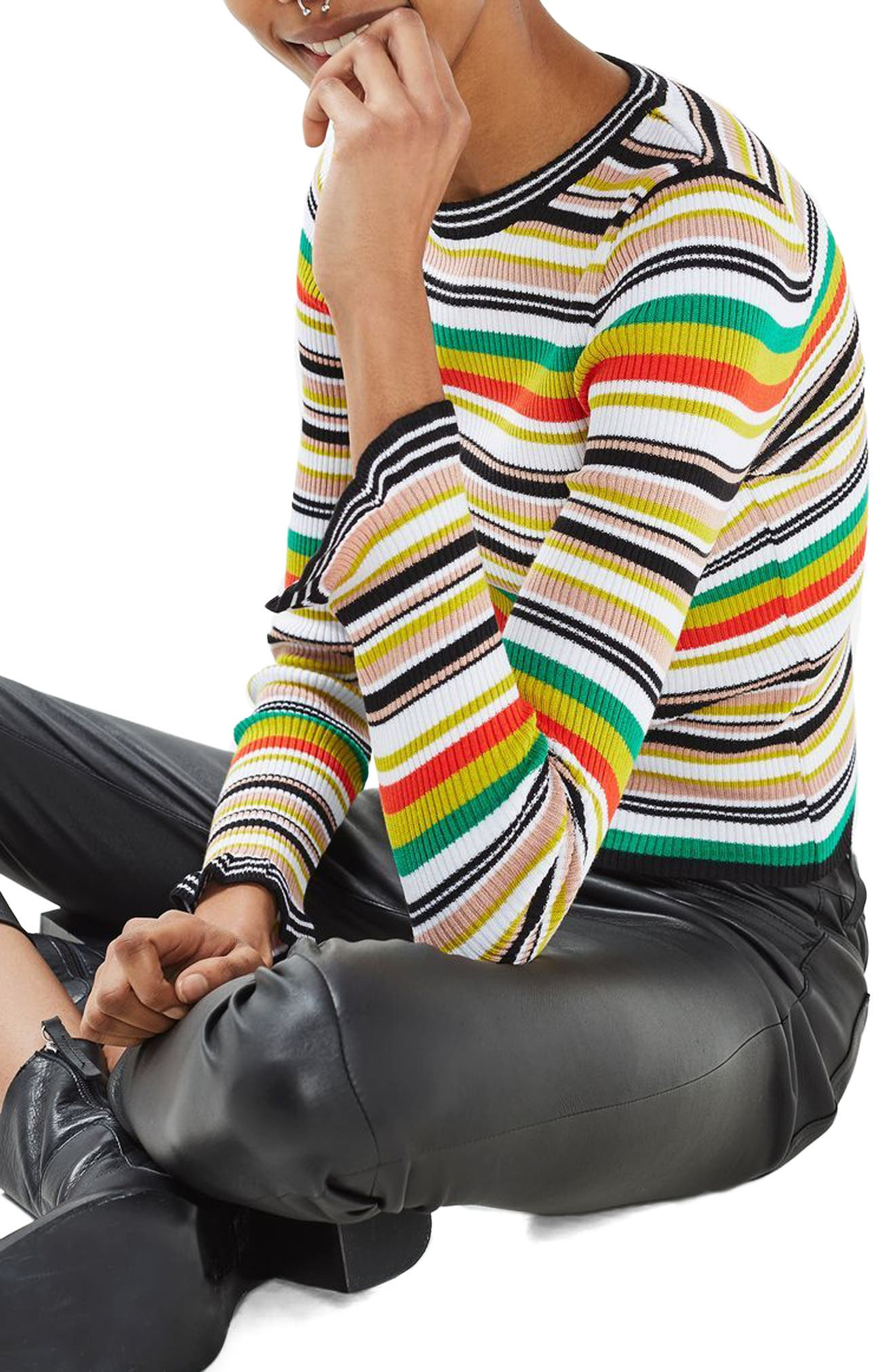Hyper Stripe Sweater,                         Main,                         color, 100