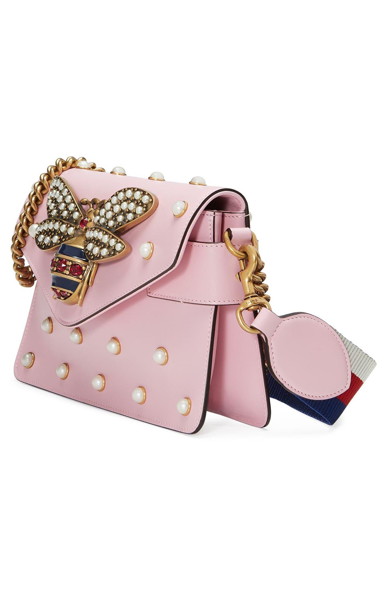 Mini Broadway Leather Shoulder Bag,                             Alternate thumbnail 4, color,                             653