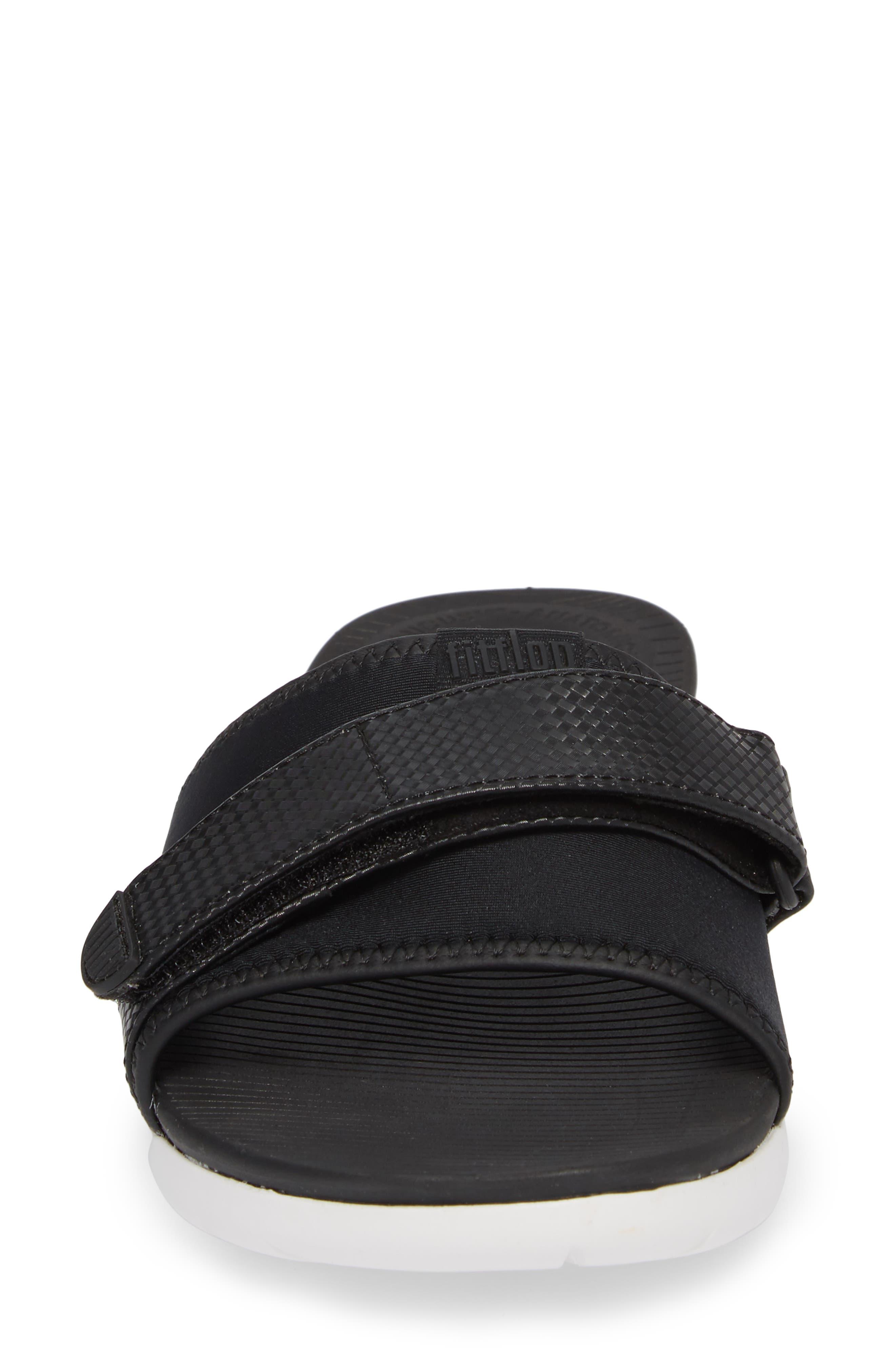 Neoflex Slide Sandal,                             Alternate thumbnail 4, color,                             BLACK FABRIC