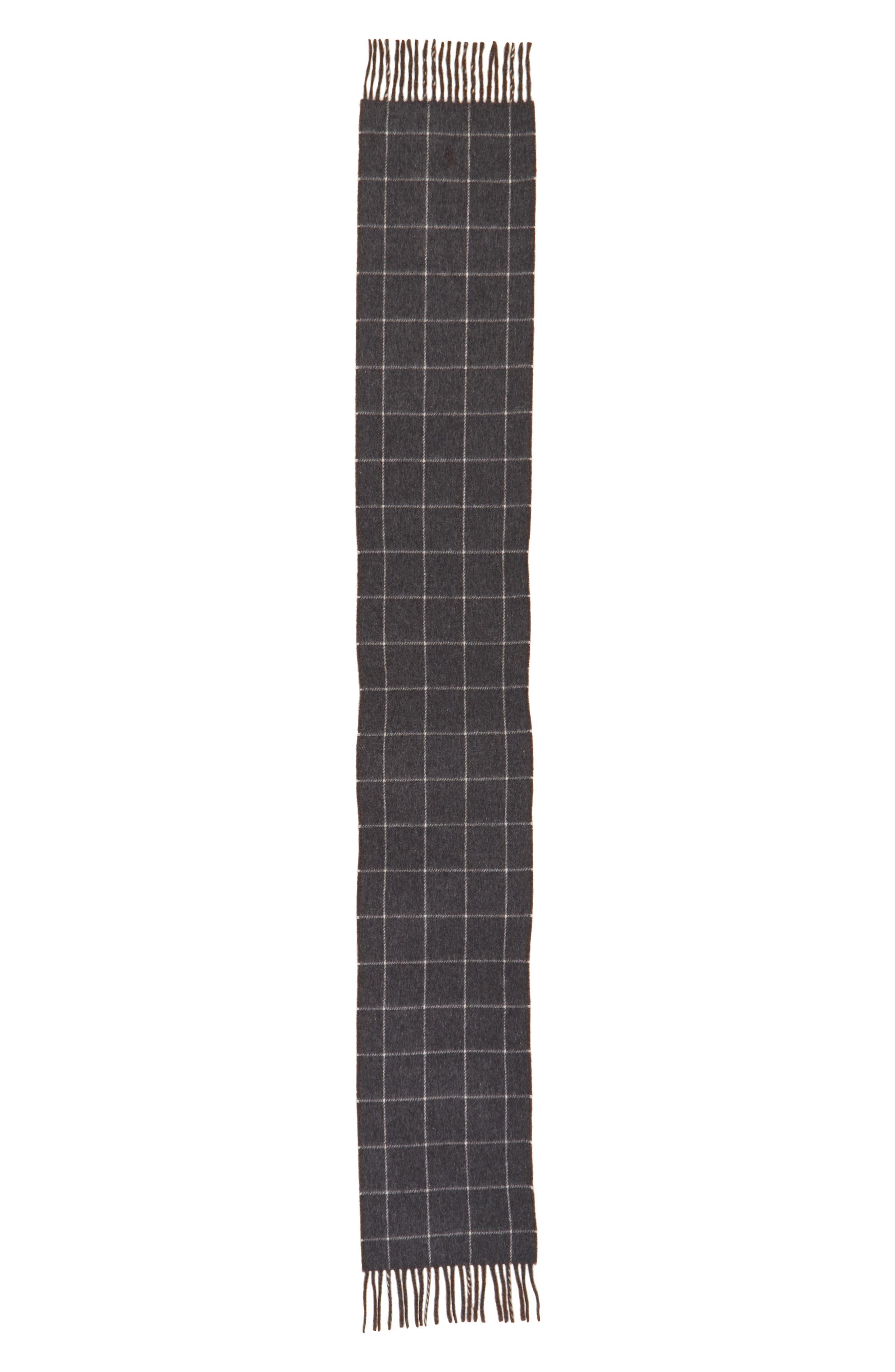 Reversible Wool Blend Plaid Scarf,                             Alternate thumbnail 3, color,