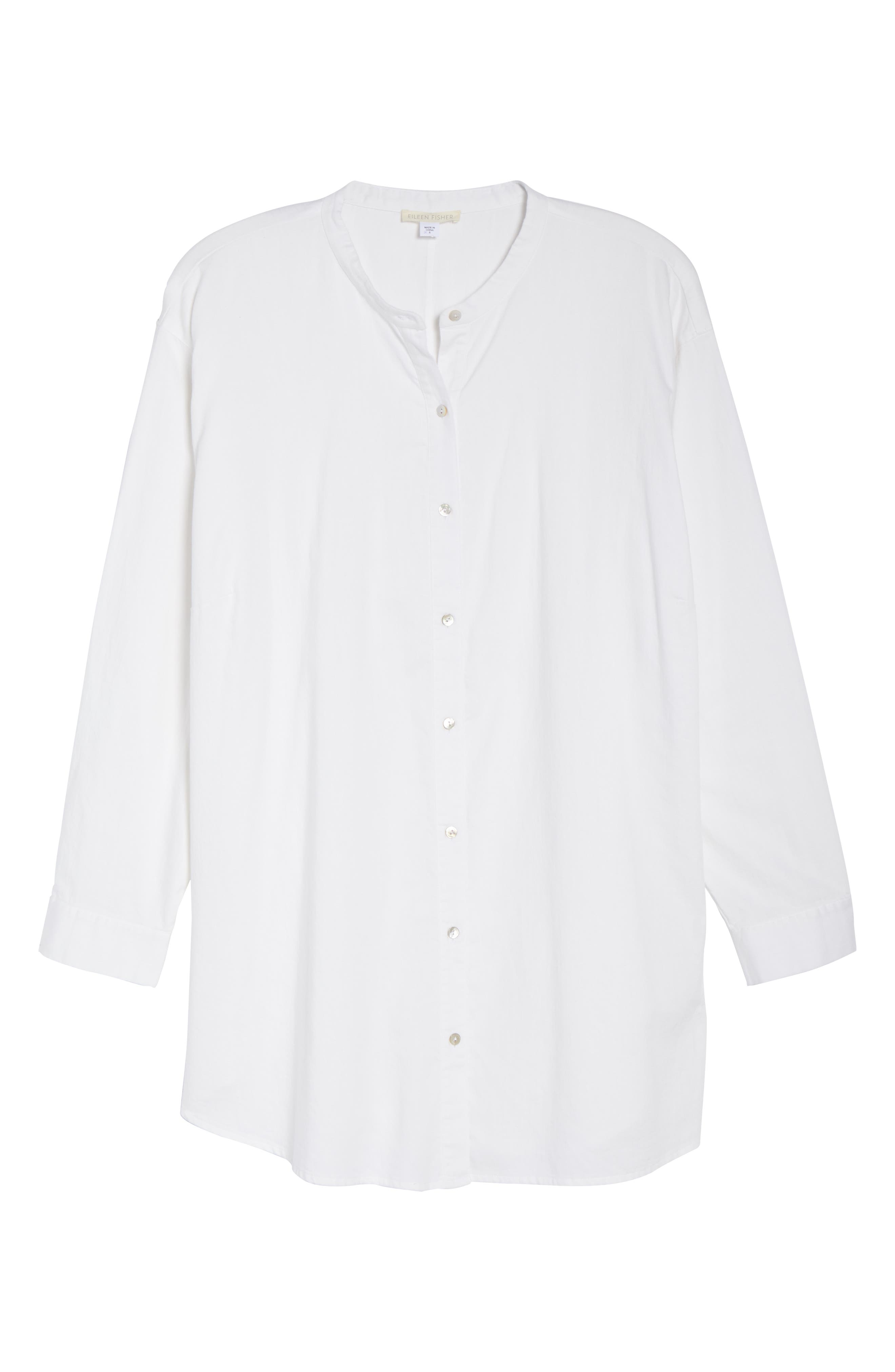 EILEEN FISHER,                             Mandarin Collar Organic Cotton Tunic Shirt,                             Alternate thumbnail 6, color,                             IVORY
