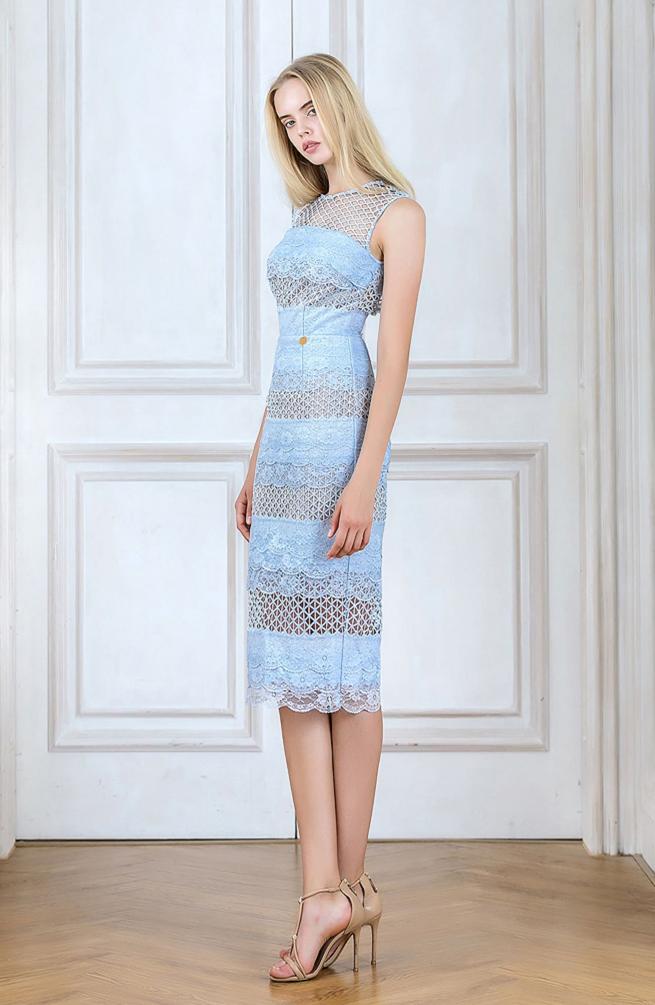 Sienna Lace Panel Sheath Dress,                             Alternate thumbnail 8, color,                             450