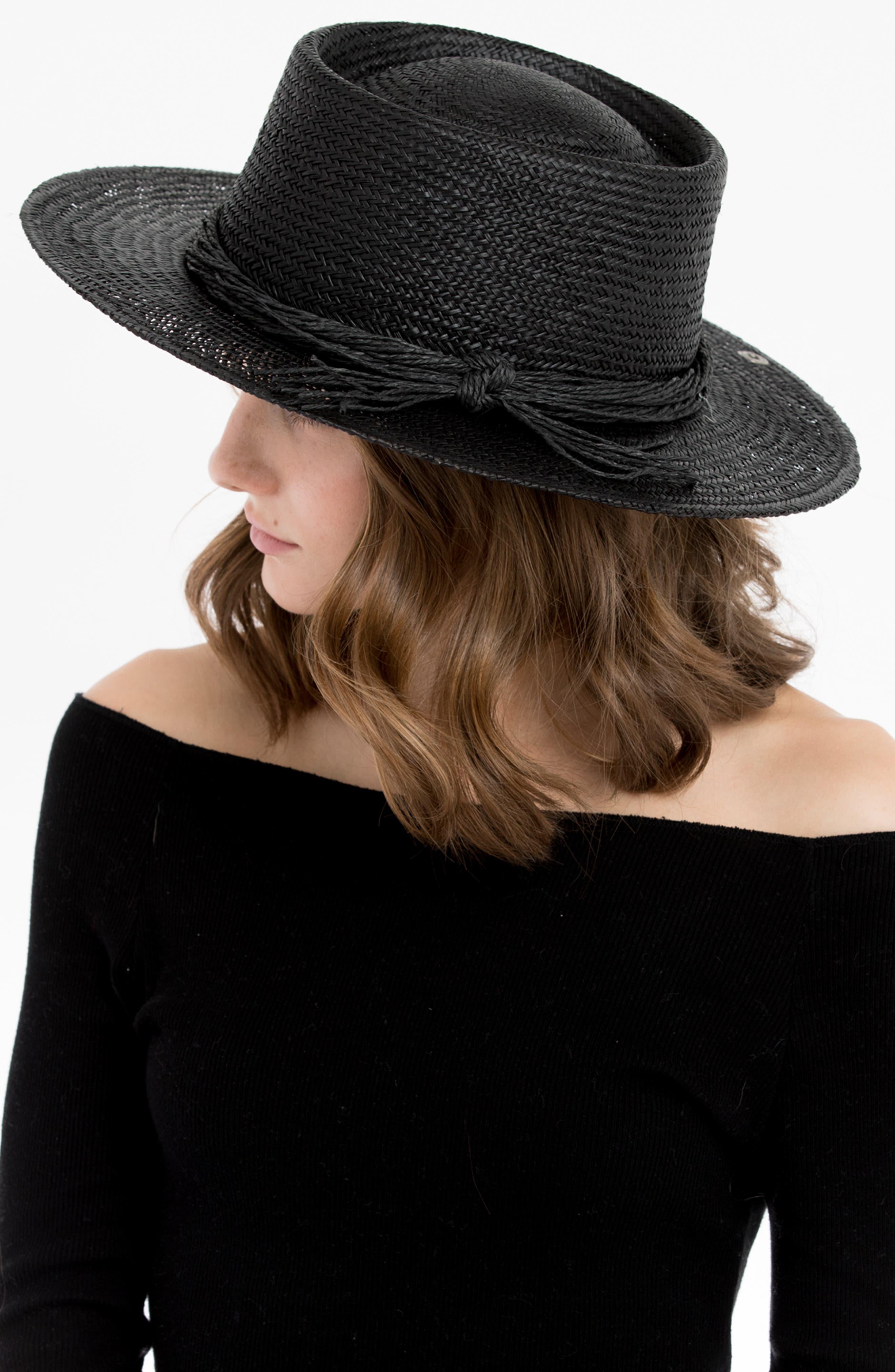 Borden Straw Resort Hat,                             Alternate thumbnail 4, color,                             001