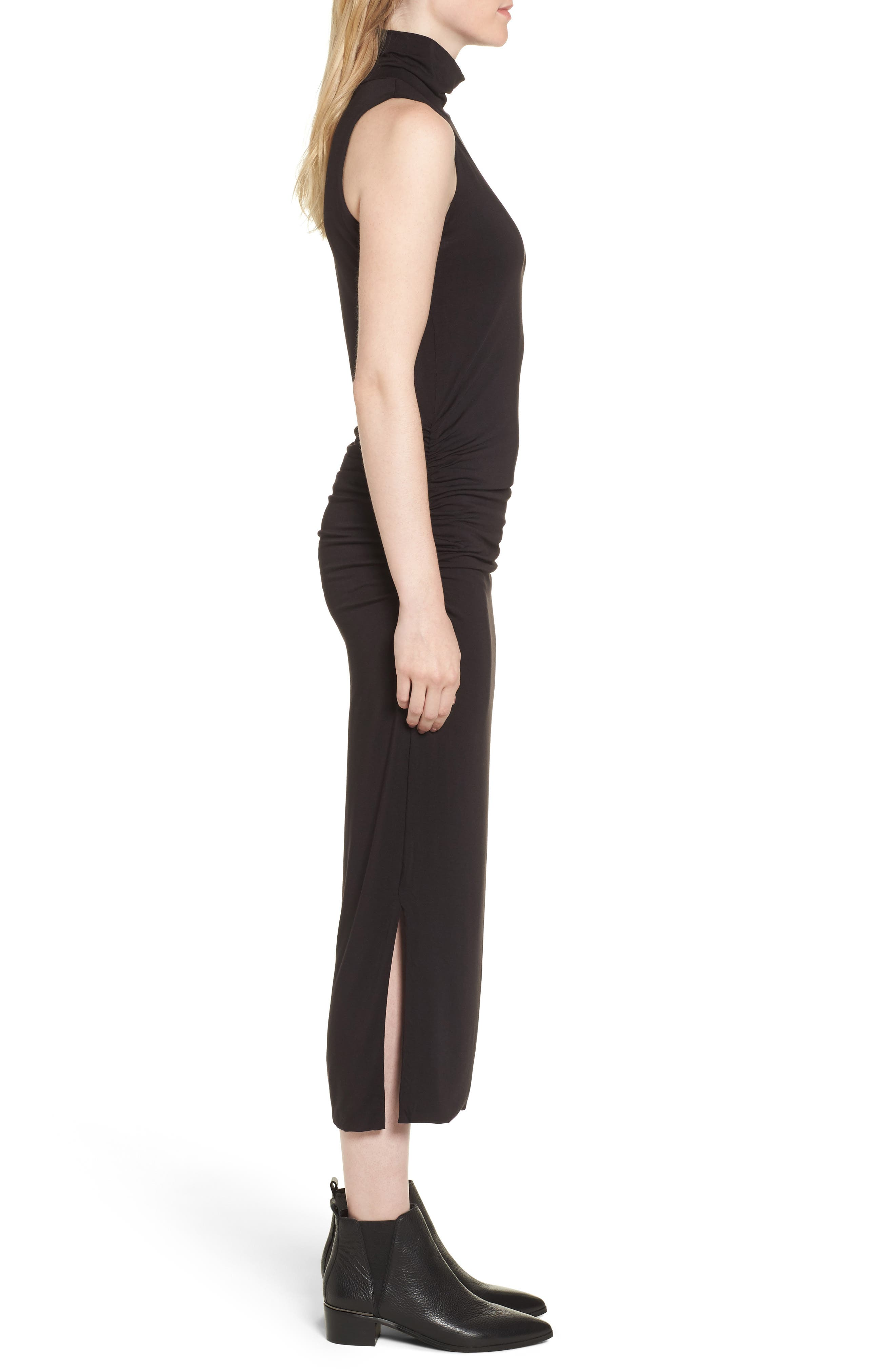 Turtleneck Maxi Dress,                             Alternate thumbnail 3, color,                             010