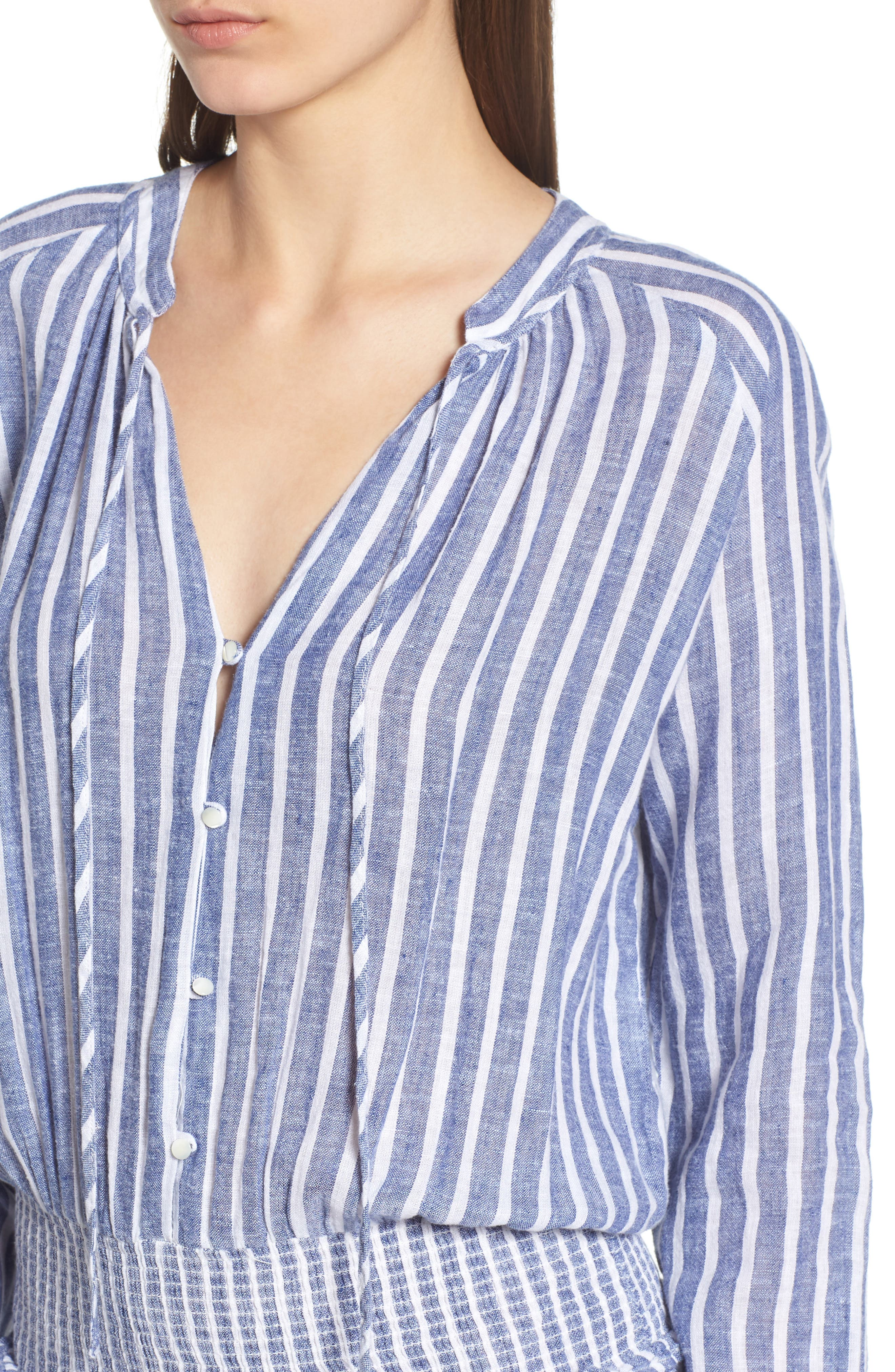 Jasmine Linen Blend Dress,                             Alternate thumbnail 4, color,                             PARISIAN BLUE