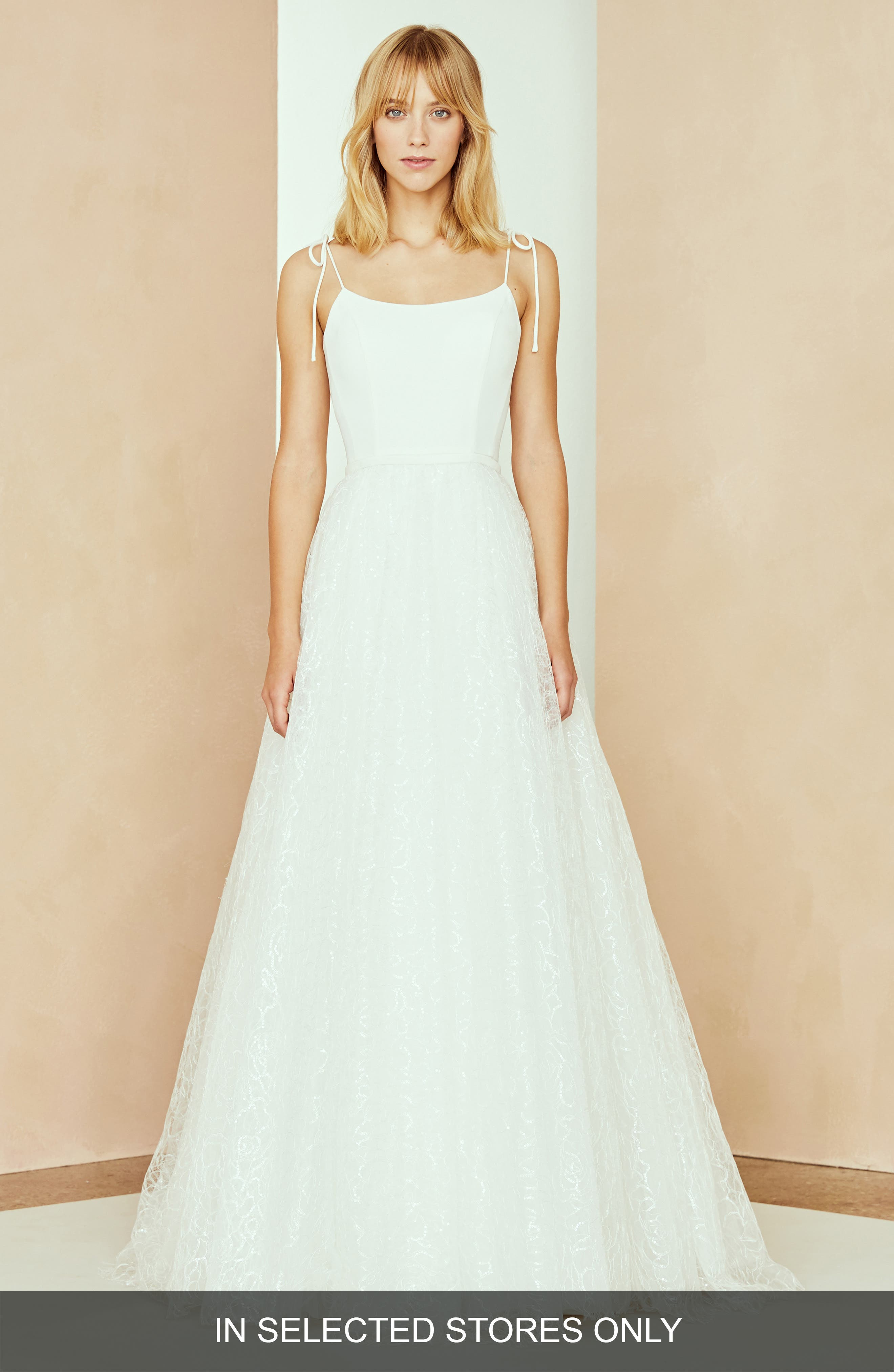 Nouvelle Amsale Zoe Tulle Overskirt Dress, Size - Ivory