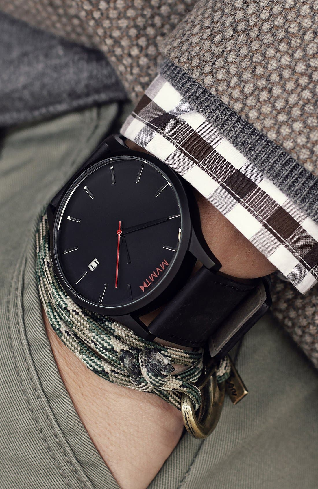 Leather Strap Watch, 45mm,                             Alternate thumbnail 4, color,                             BLACK/ BLACK