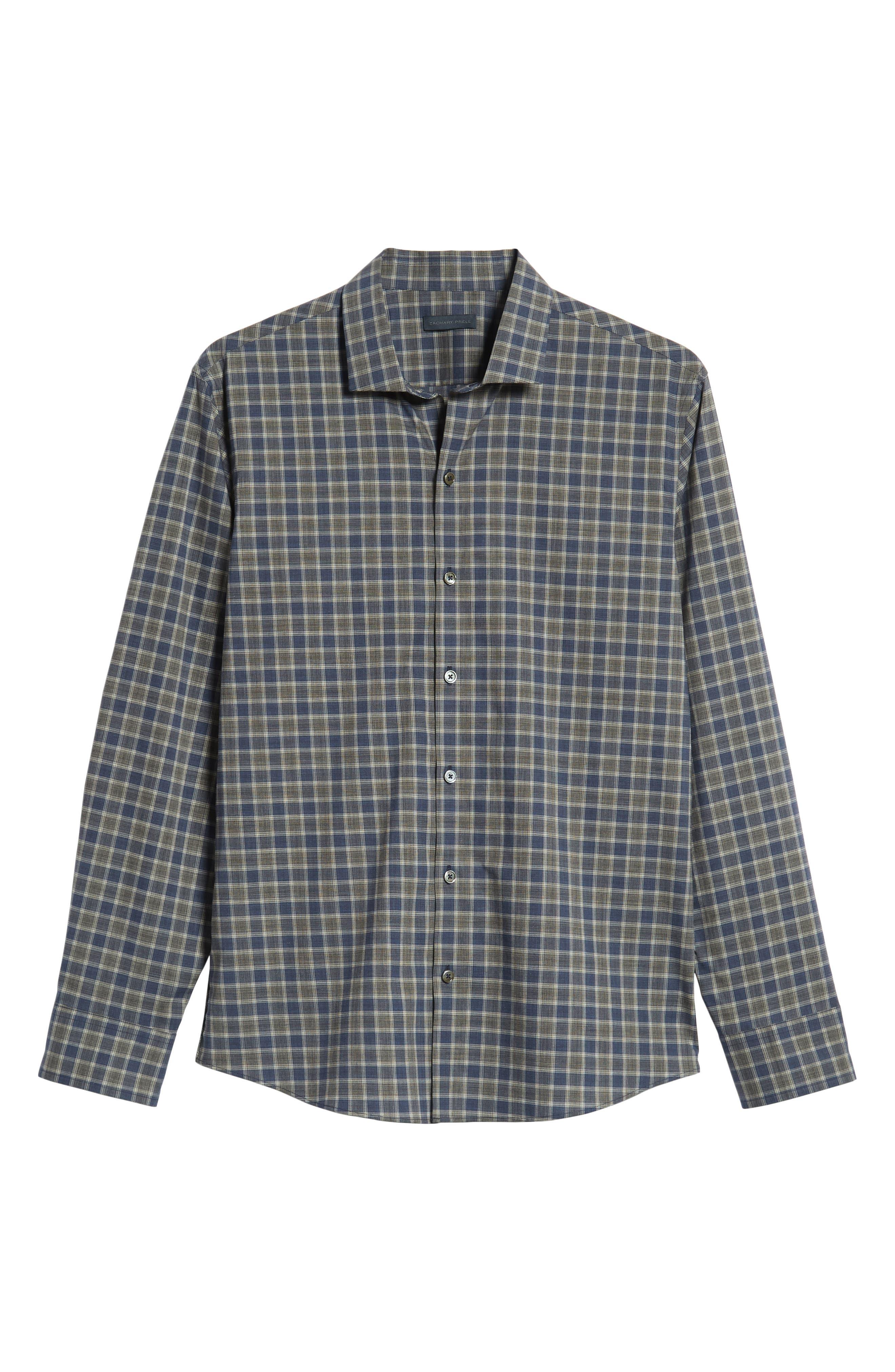 ZACHARY PRELL,                             Giunta Regular Fit Check Sport Shirt,                             Alternate thumbnail 5, color,                             BLUE