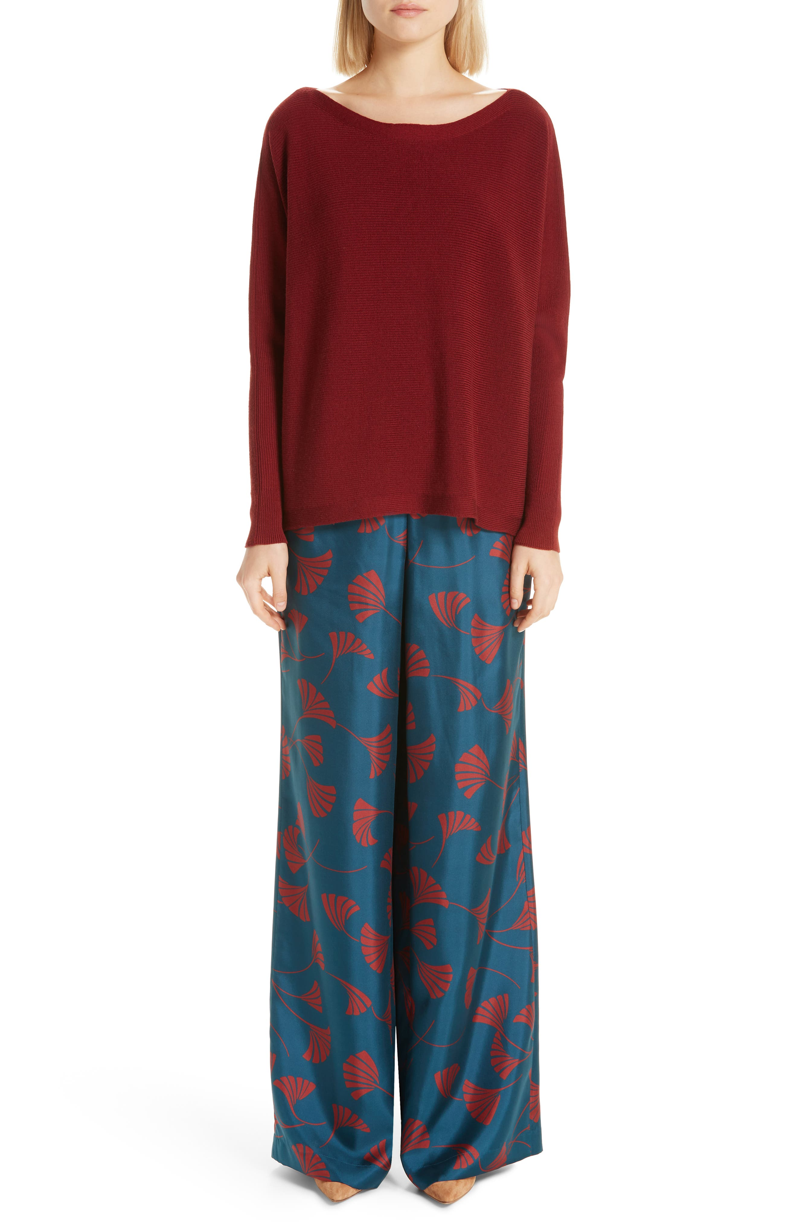 Hester Silk Wide Leg Pants,                             Alternate thumbnail 7, color,                             EMPRESS TEAL MULTI