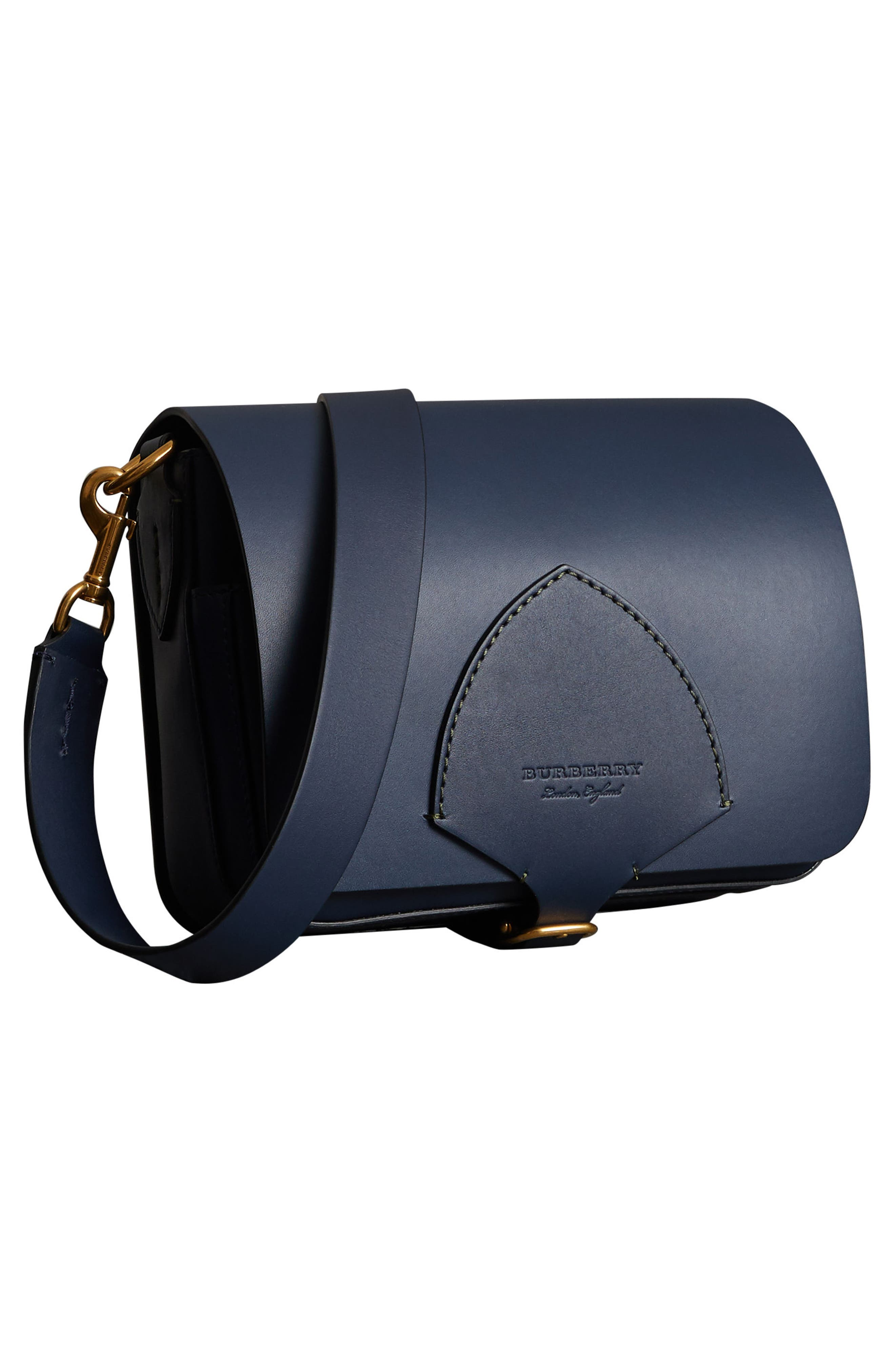 Large Square Leather Shoulder Bag,                             Alternate thumbnail 8, color,                             MID INDIGO