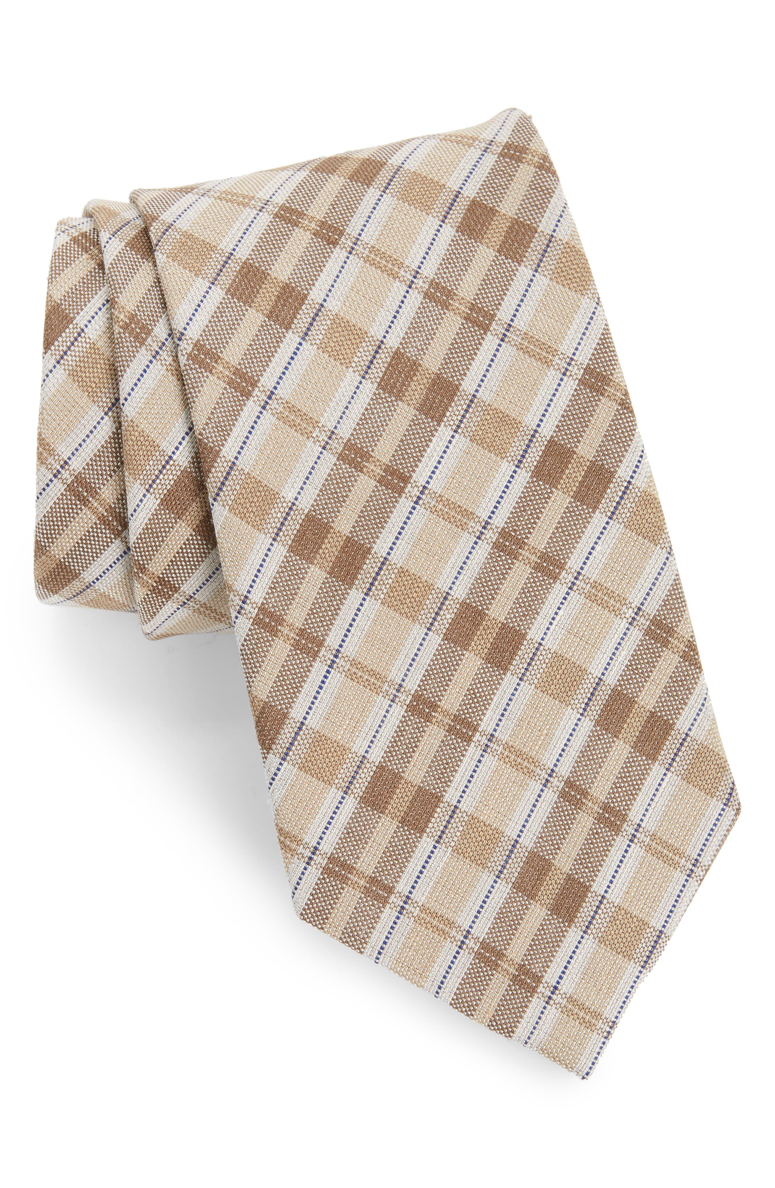 Plaid Linen & Silk Tie,                         Main,                         color, 294
