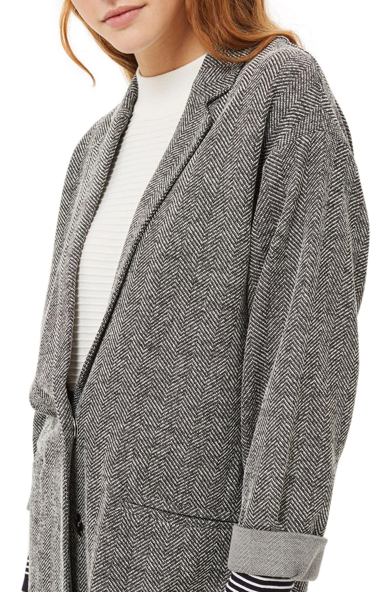 Herringbone Jersey Coat,                             Alternate thumbnail 3, color,                             020