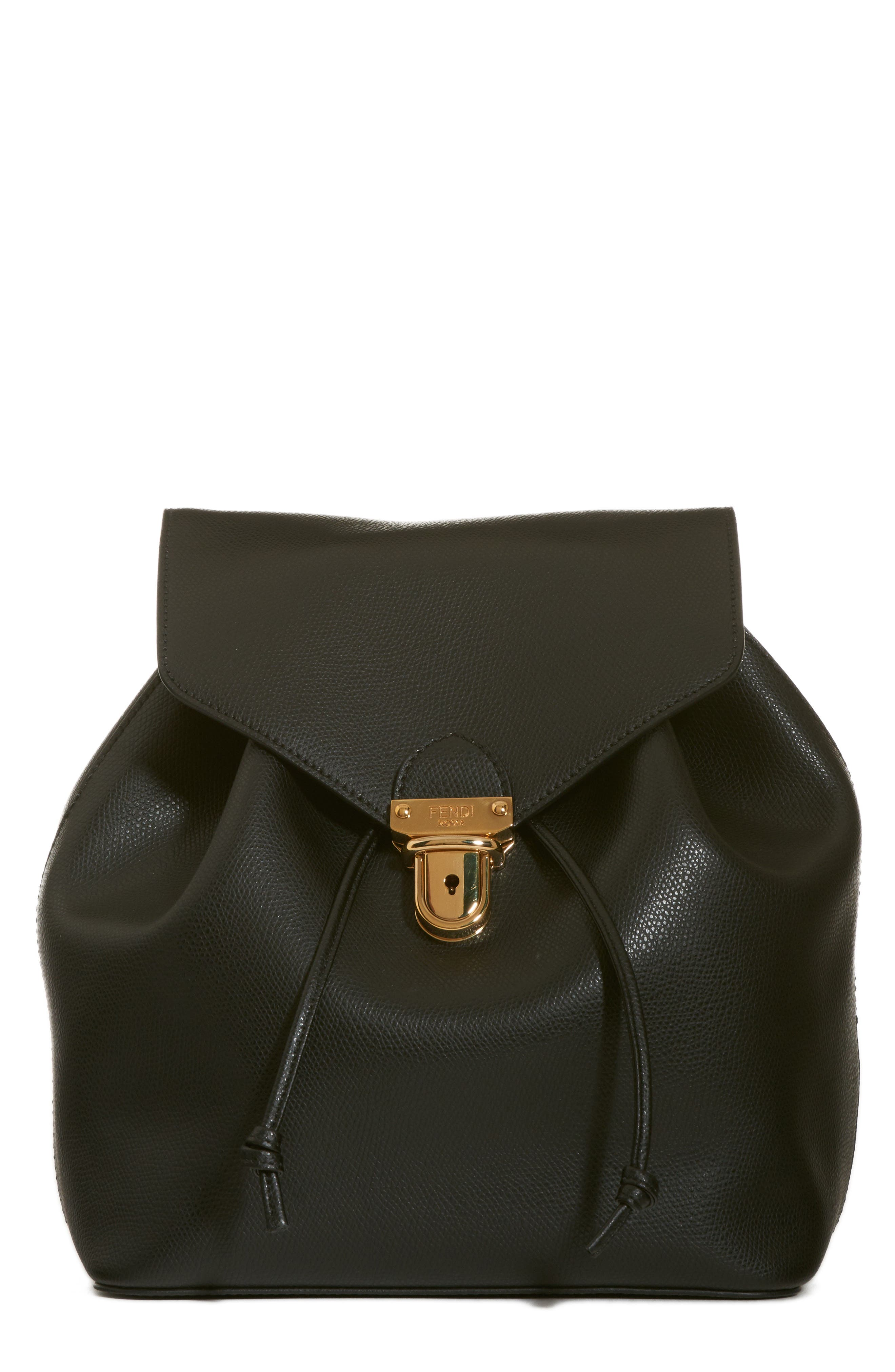 FENDI,                             Cruise Calfskin Leather Backpack,                             Main thumbnail 1, color,                             006