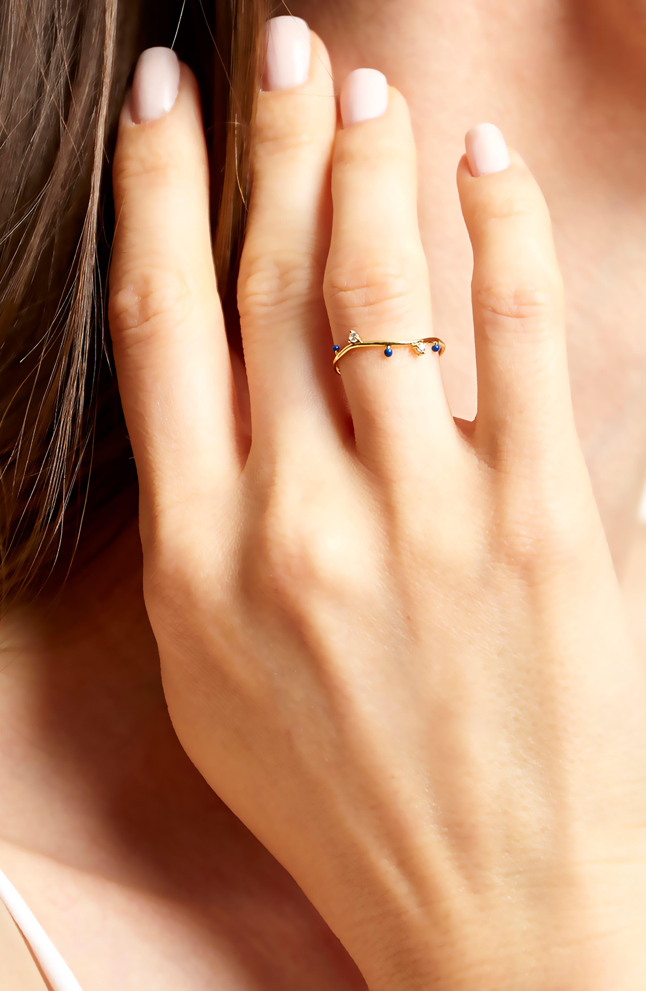 Beaded Enamel Ring,                             Alternate thumbnail 2, color,                             LAPIS