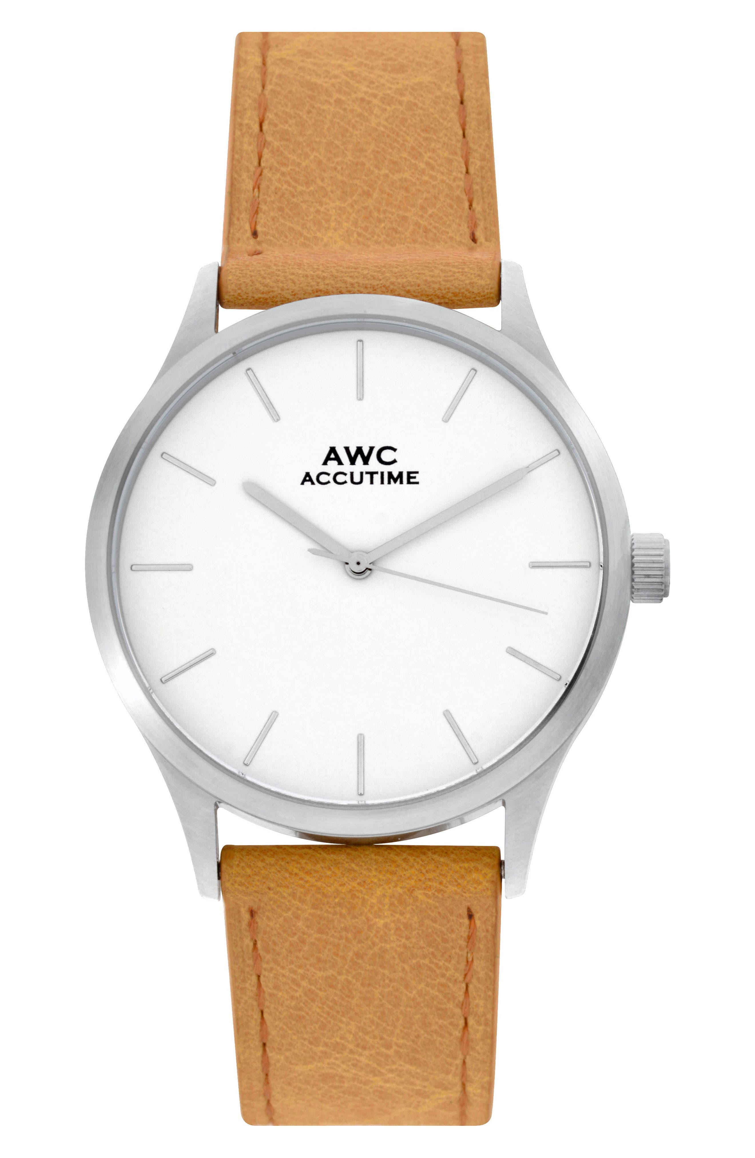 Mark Leather Strap Watch, 42mm,                             Main thumbnail 1, color,