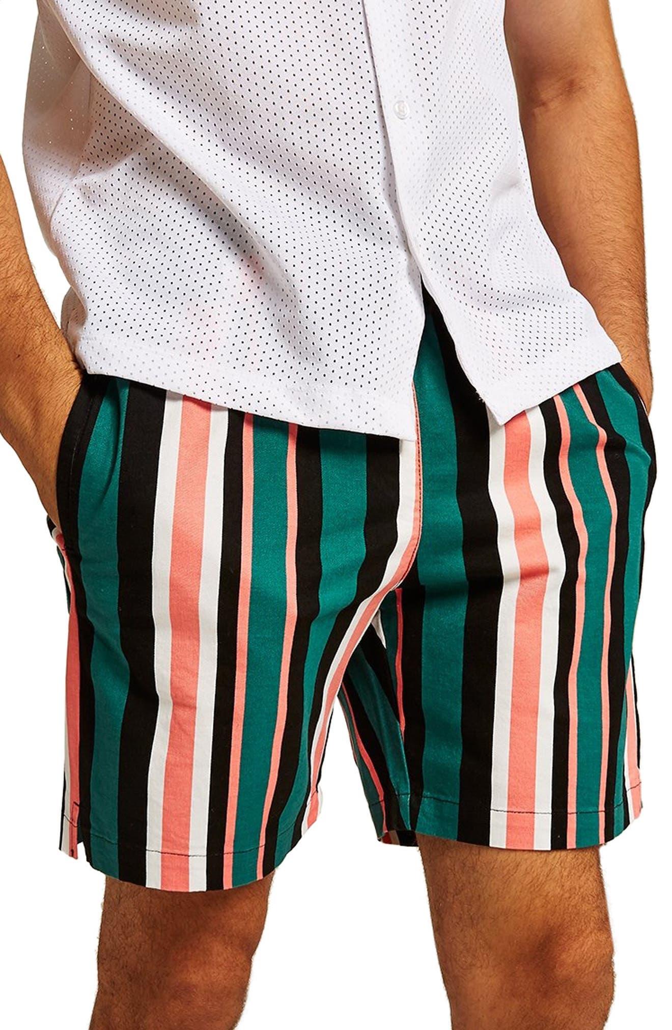 Slim Stripe Shorts,                             Main thumbnail 1, color,                             GREEN MULTI