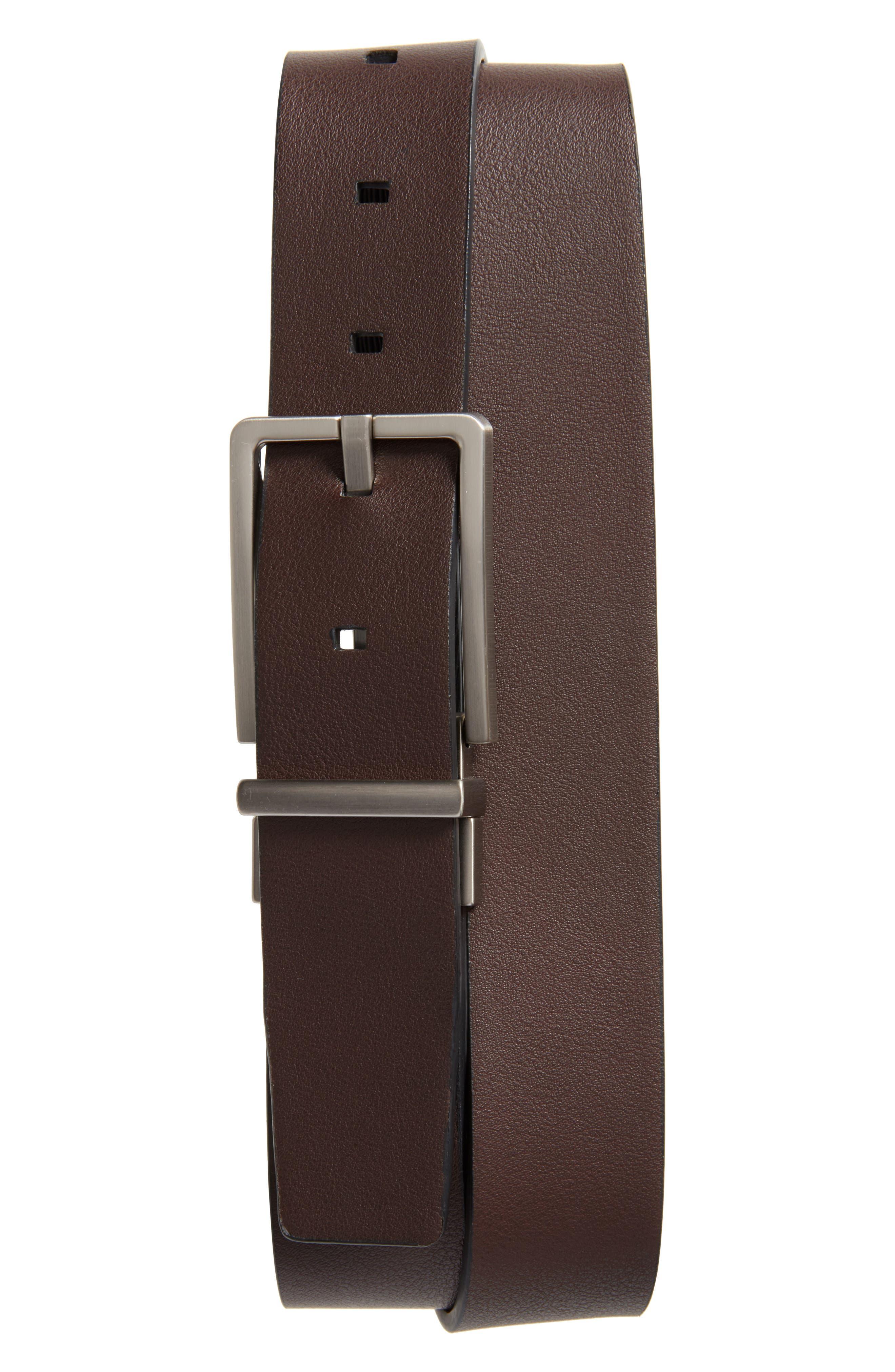Saffiano Leather Belt,                             Alternate thumbnail 2, color,                             001