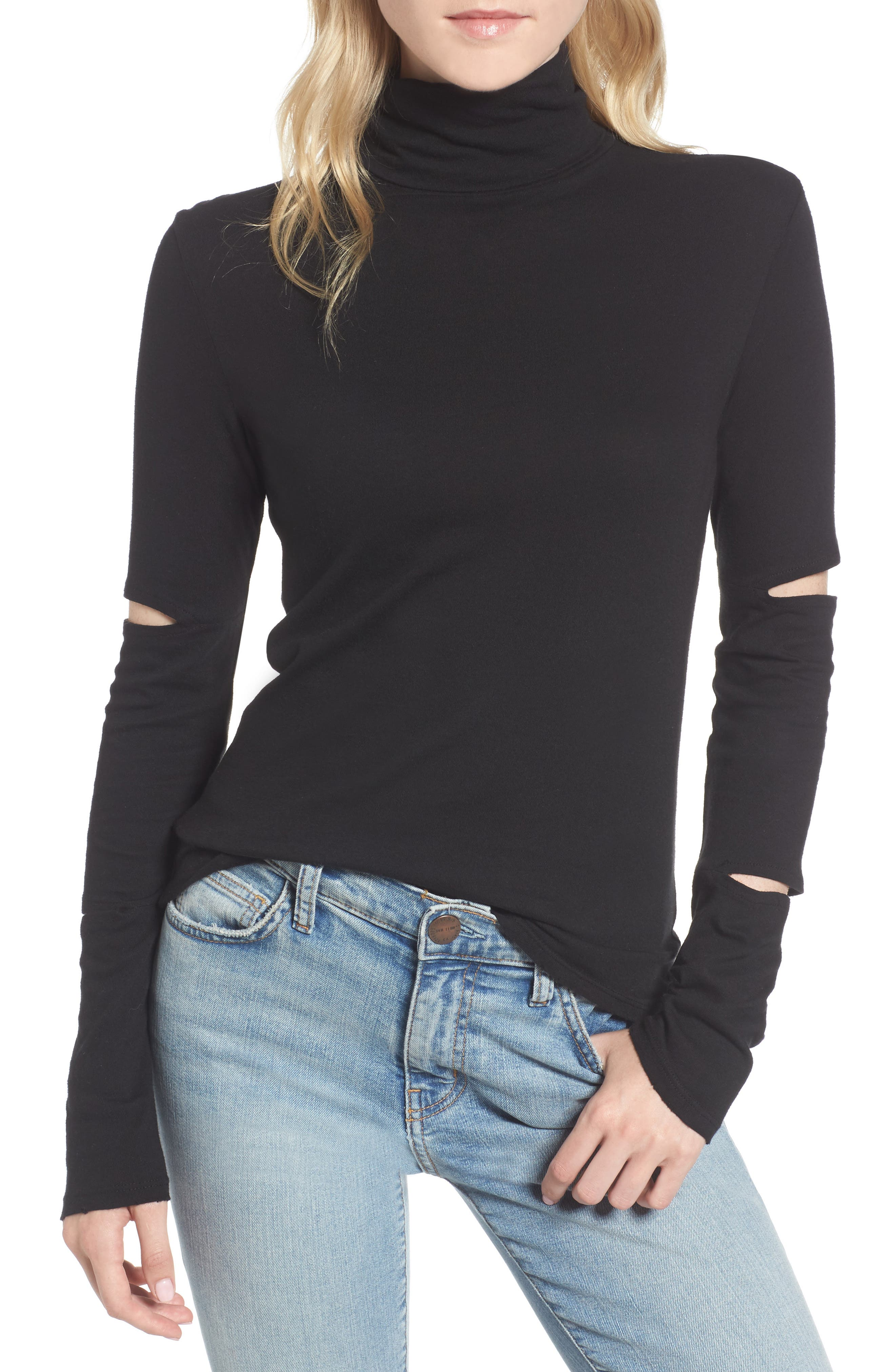 Easton Cutout Turtleneck,                             Main thumbnail 1, color,                             001