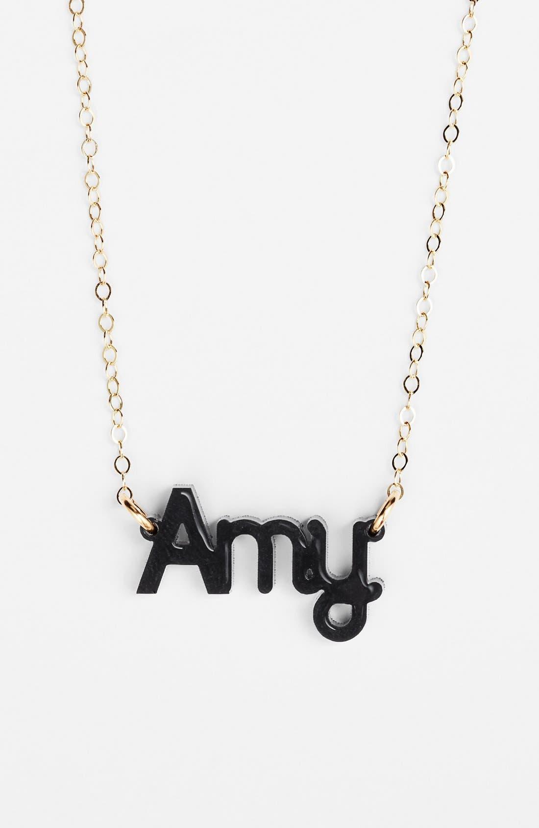 'Zebra Block Font' Personalized Nameplate Pendant Necklace,                             Main thumbnail 1, color,                             EBONY/ GOLD