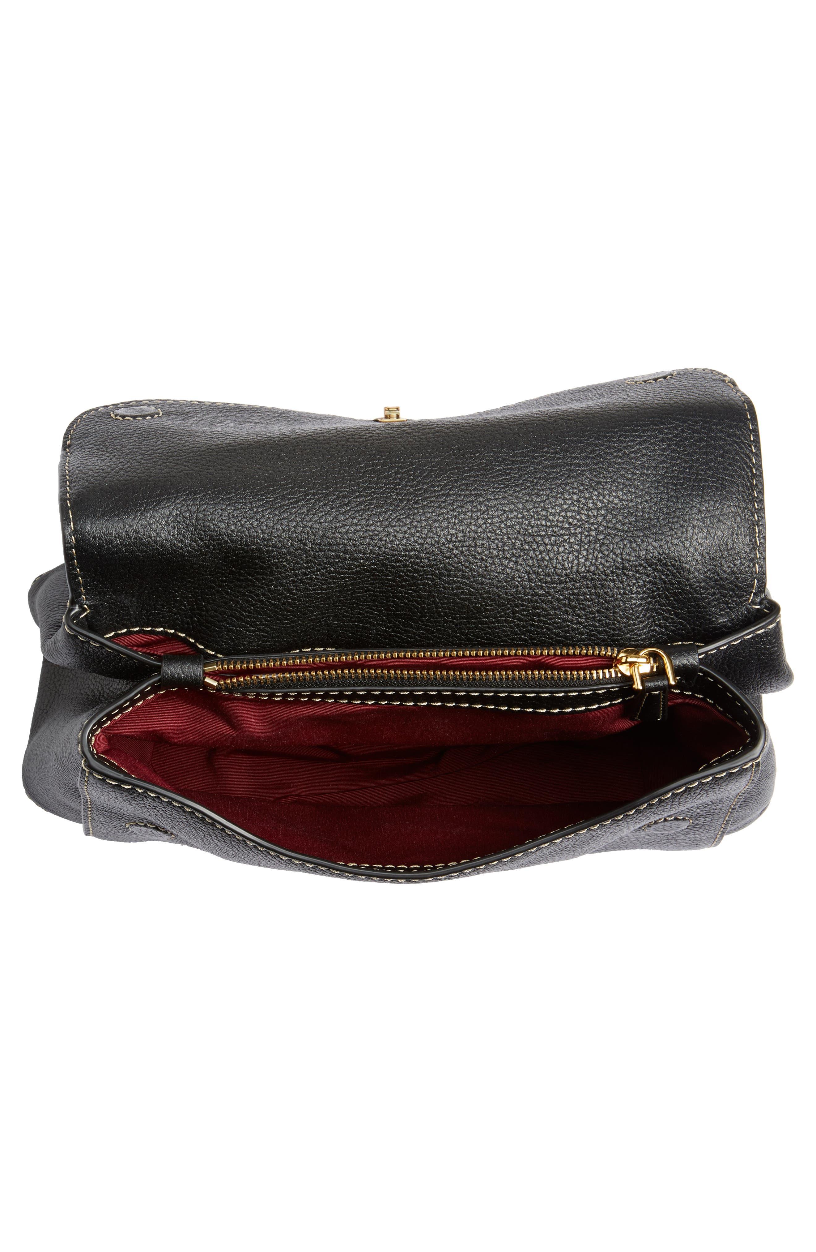 The Grind Boho Leather Shoulder Bag,                             Alternate thumbnail 4, color,                             BLACK/ GOLD