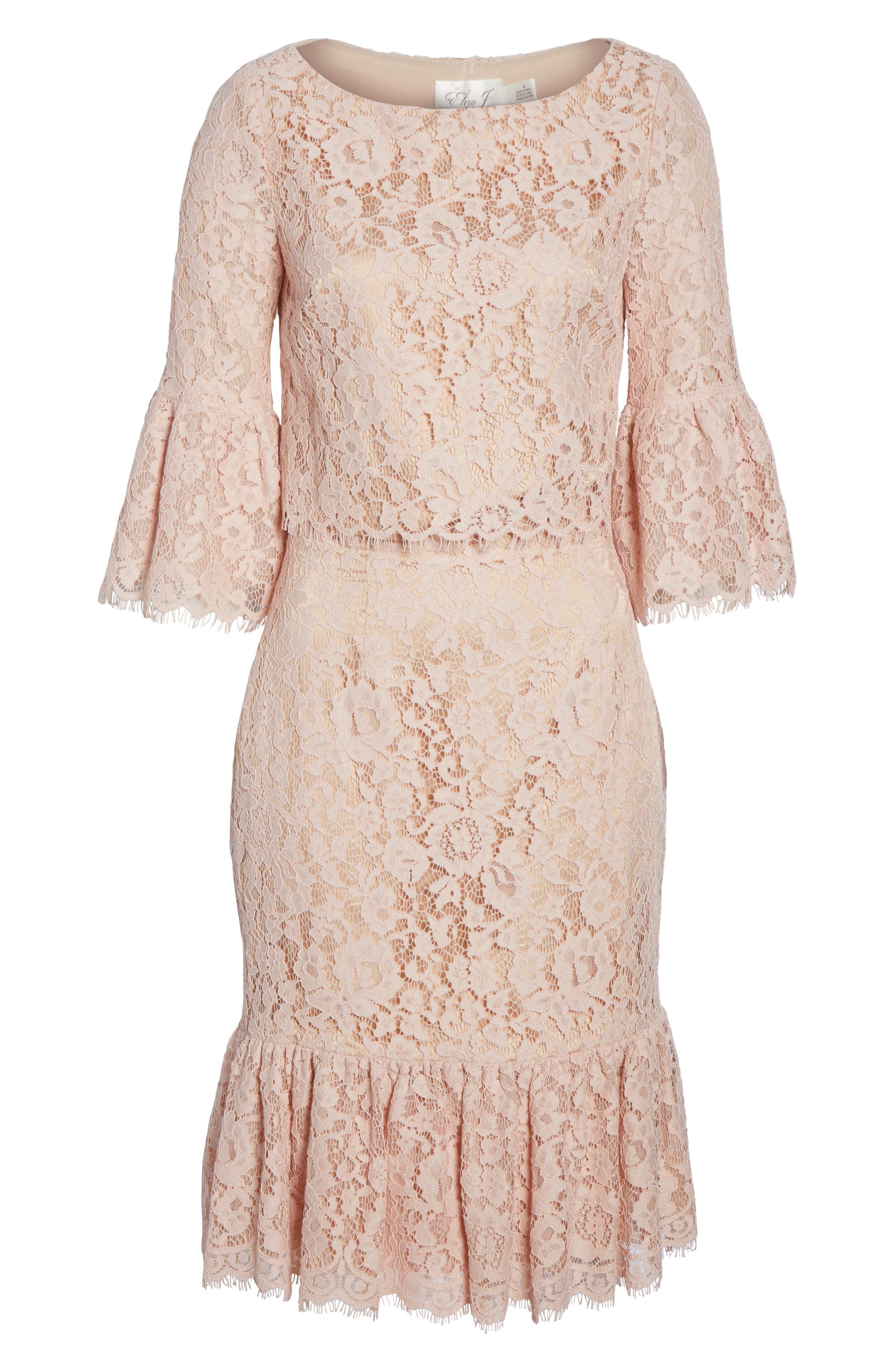 Ruffle Trim Lace Two-Piece Dress,                             Alternate thumbnail 6, color,                             651