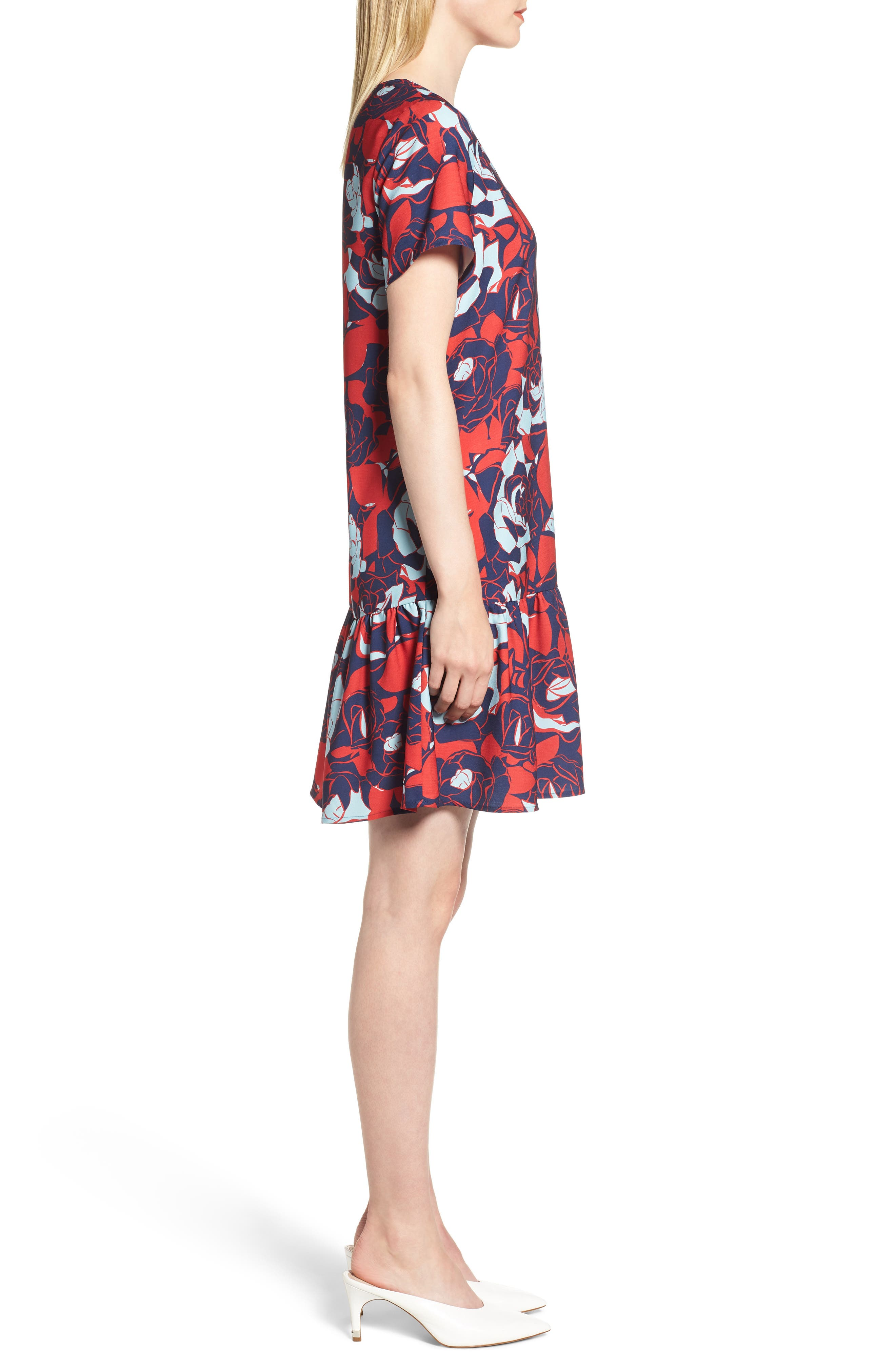 Short Sleeve Ruffle Hem Dress,                             Alternate thumbnail 18, color,