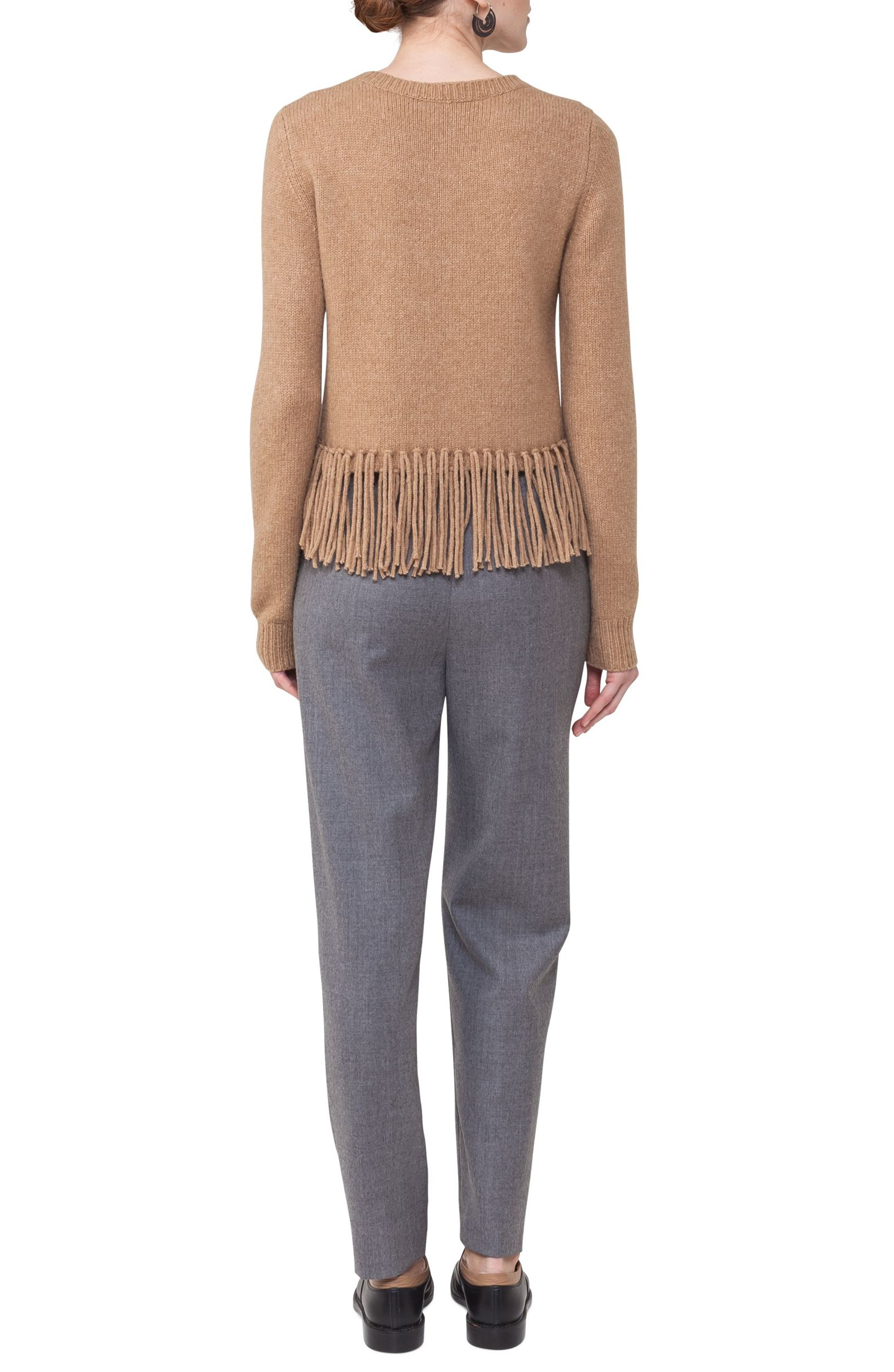 Fringe Cable Knit Wool Blend Pullover,                             Alternate thumbnail 3, color,                             200