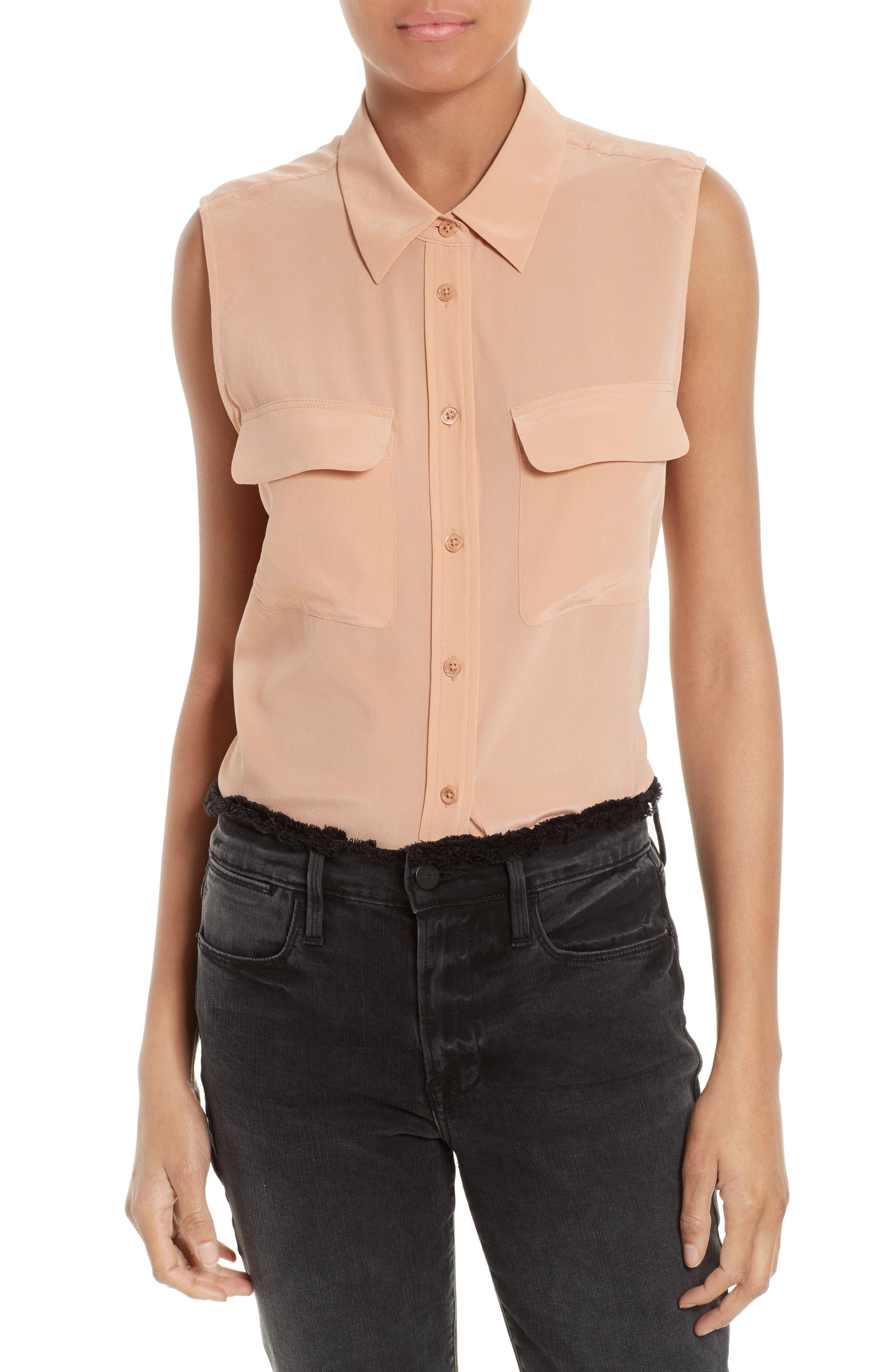 'Slim Signature' Sleeveless Silk Shirt,                             Main thumbnail 50, color,