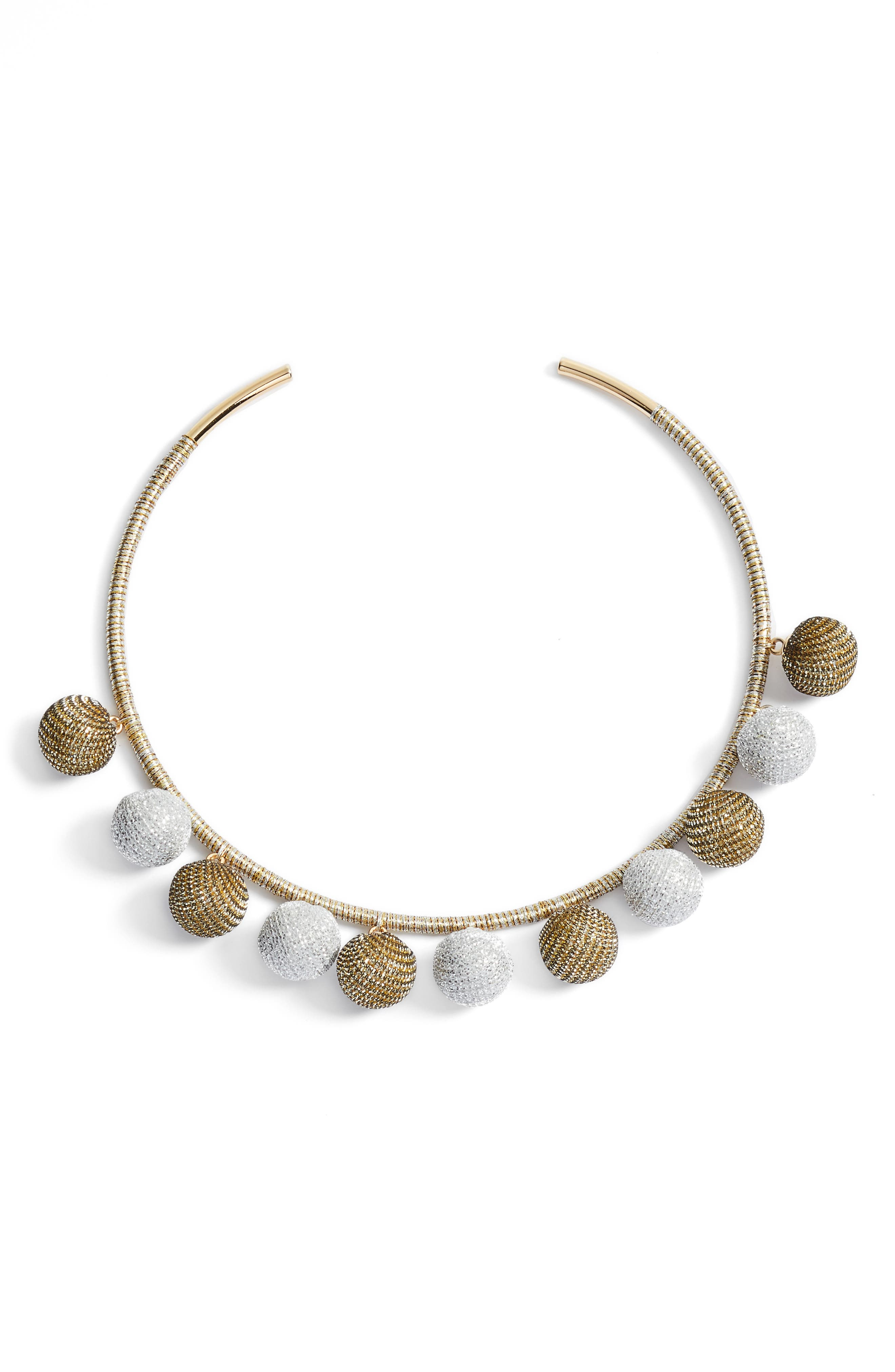 High Shine Pompom Collar Necklace,                             Main thumbnail 2, color,
