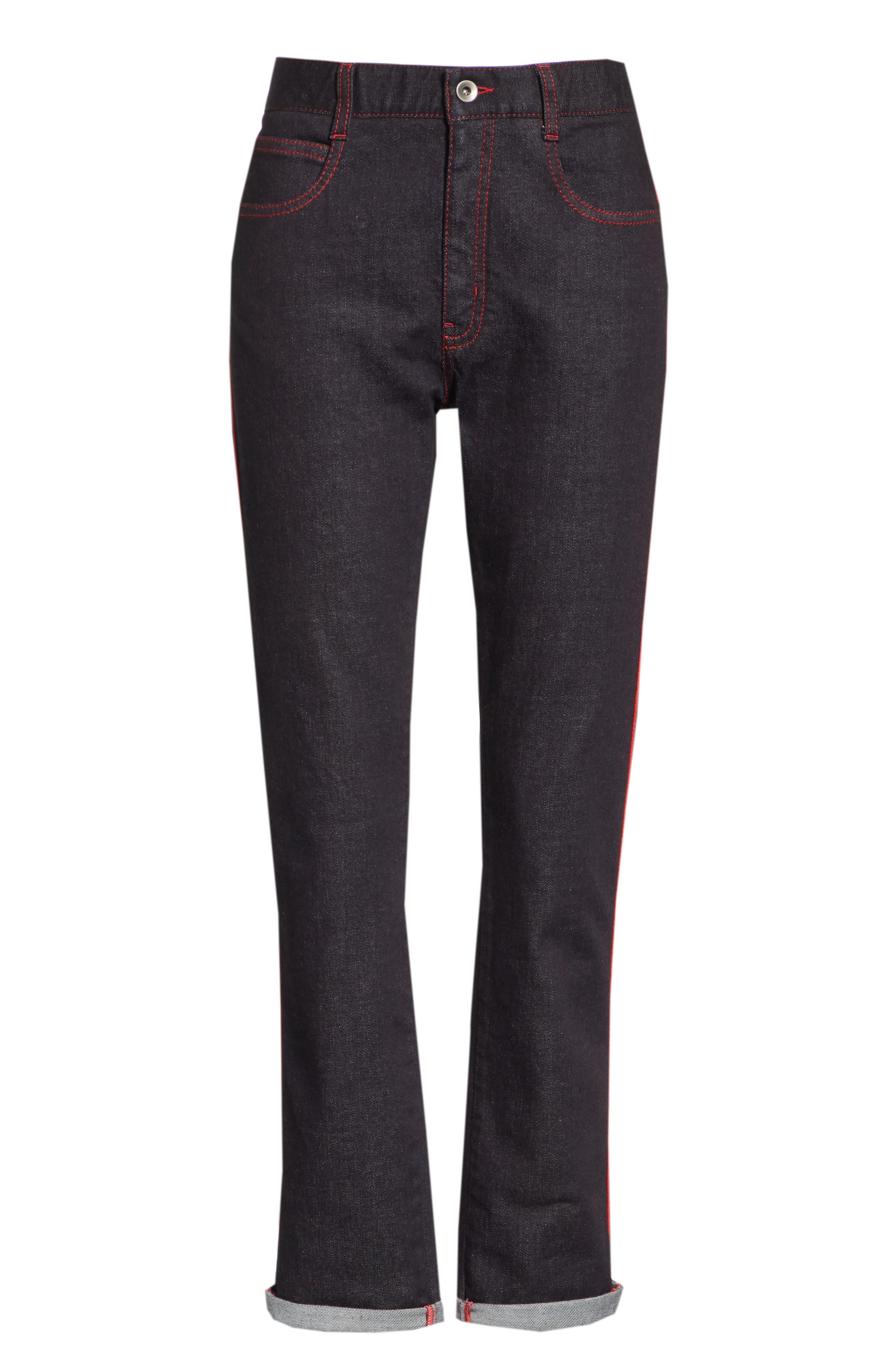 Red Piping Raw Denim Skinny Boyfriend Jeans,                             Alternate thumbnail 6, color,                             403