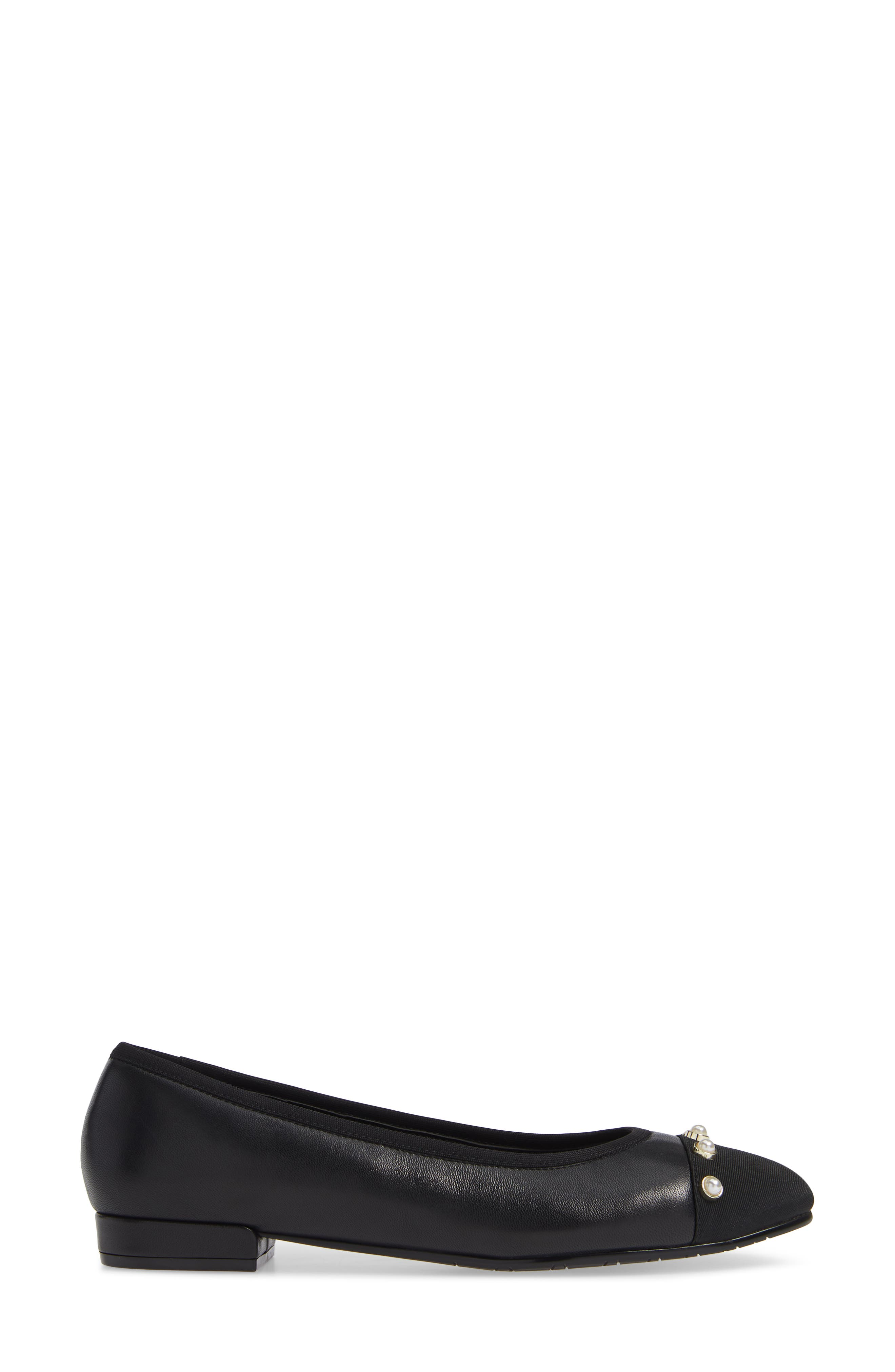 Umber Embellished Cap Toe Flat,                             Alternate thumbnail 3, color,                             BLACK NAPPA
