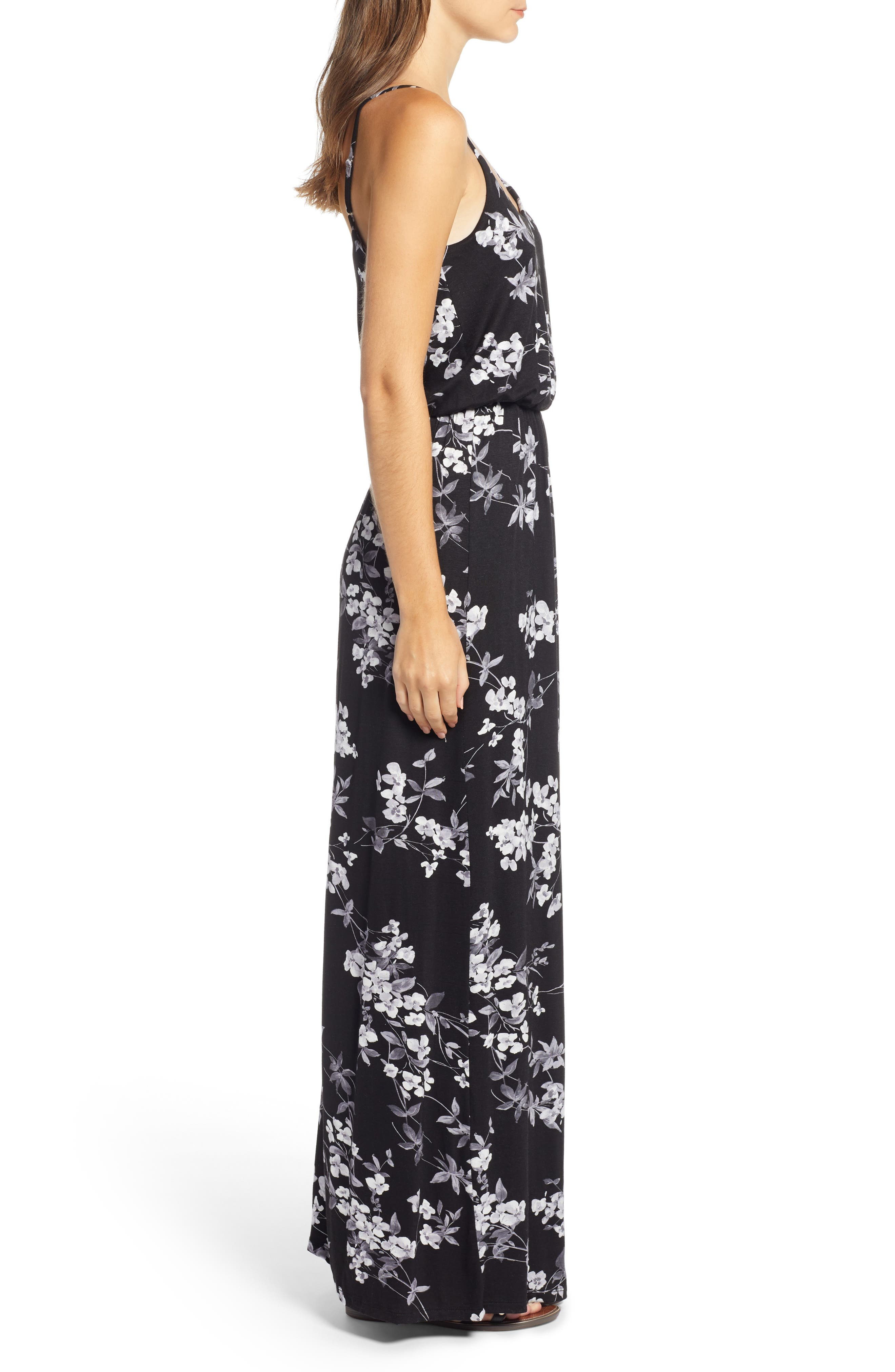 Knit Maxi Dress,                             Alternate thumbnail 3, color,                             BLACK/ CHARCOAL FLORAL
