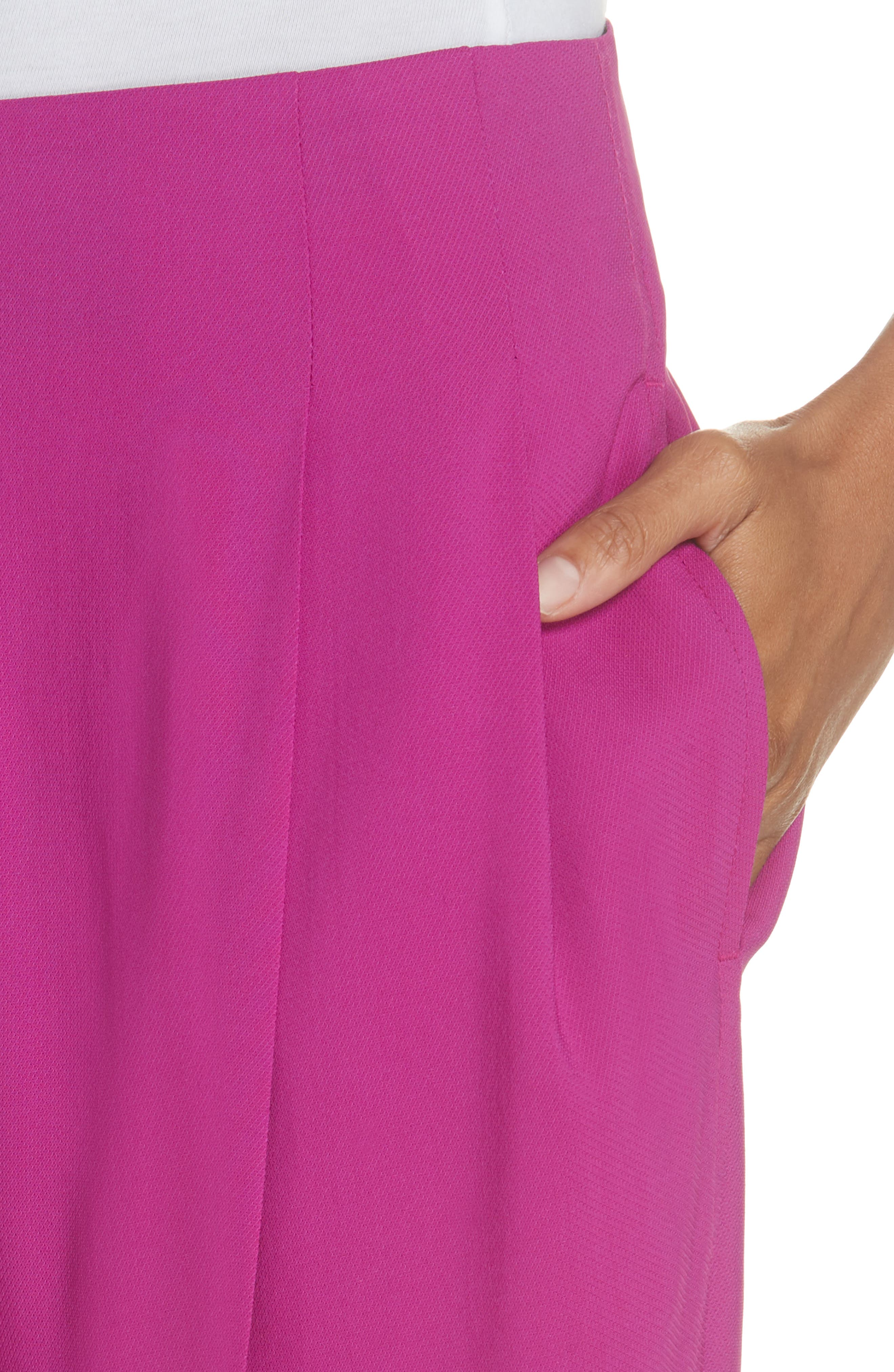Pleated Crop Trousers,                             Alternate thumbnail 4, color,                             FUCHSIA